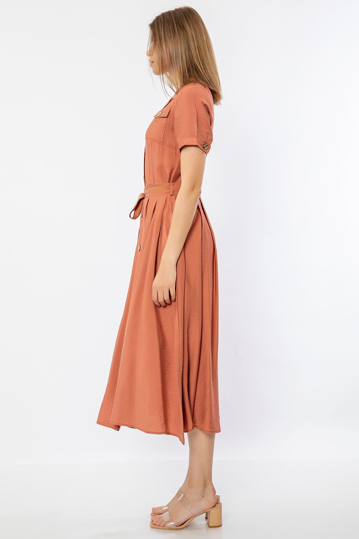 Cep Detay Elbise-Soğan