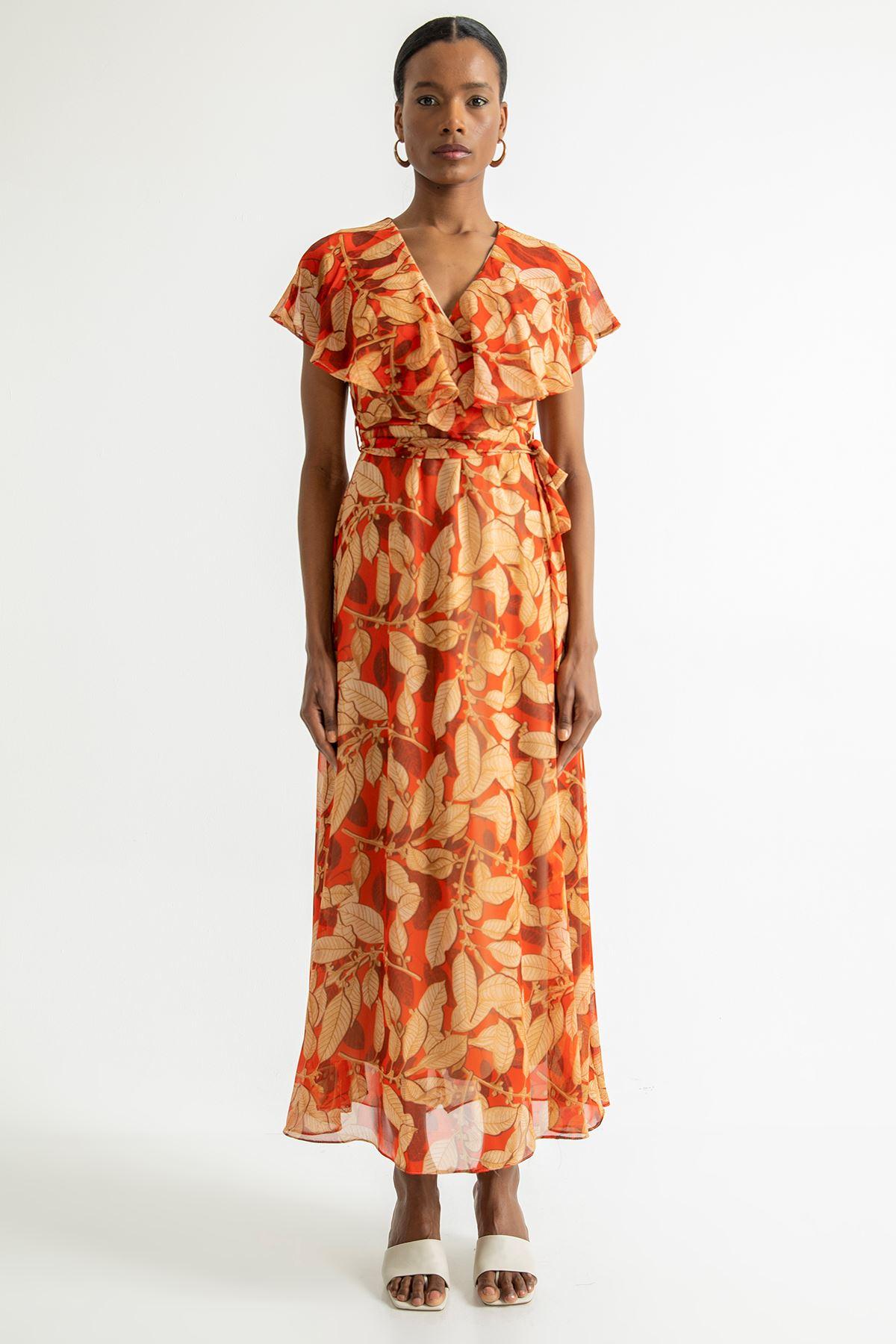 Büyük Yaprak Desen Uzun Şifon Elbise-Oranj