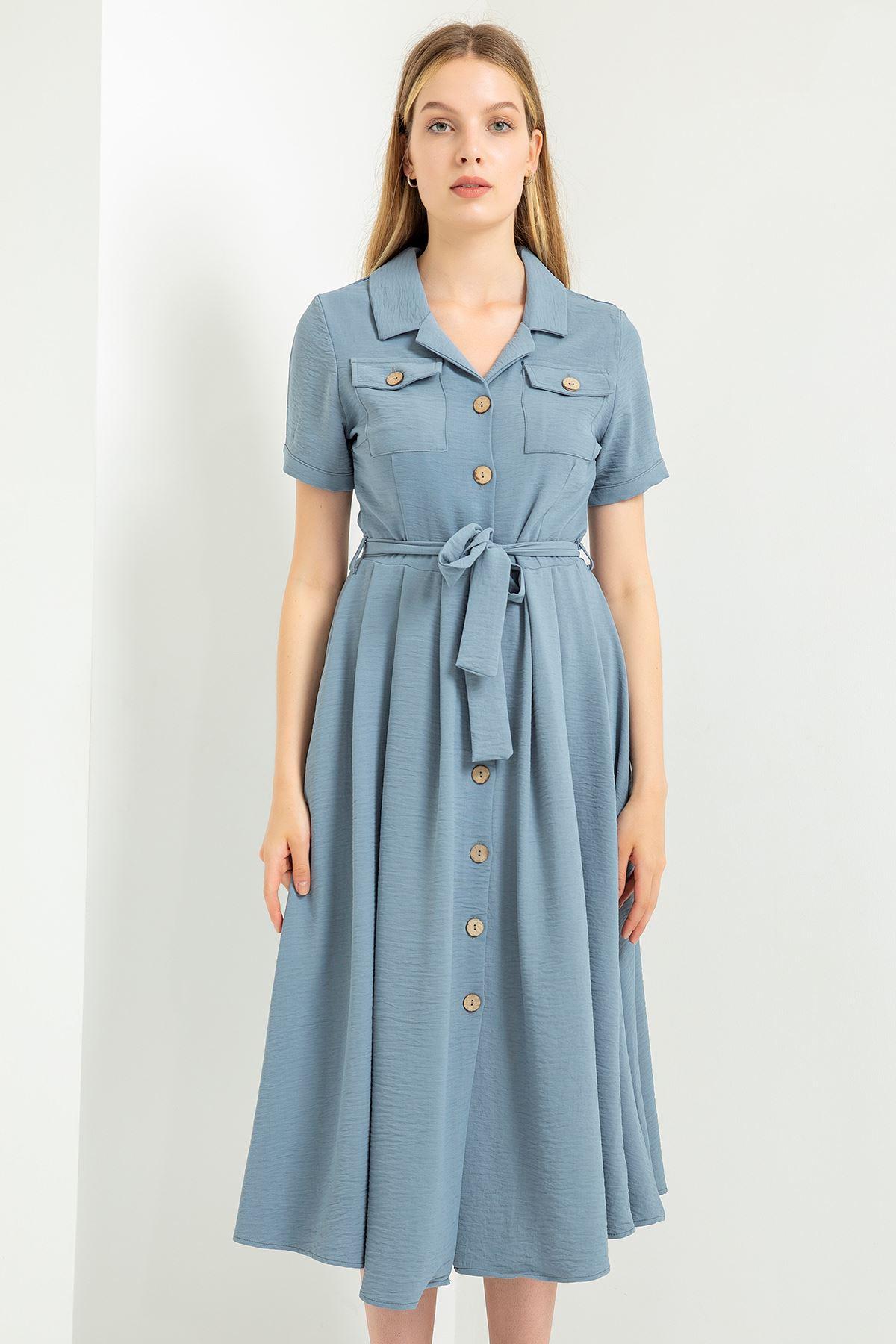 Cep Detay Elbise-Gri