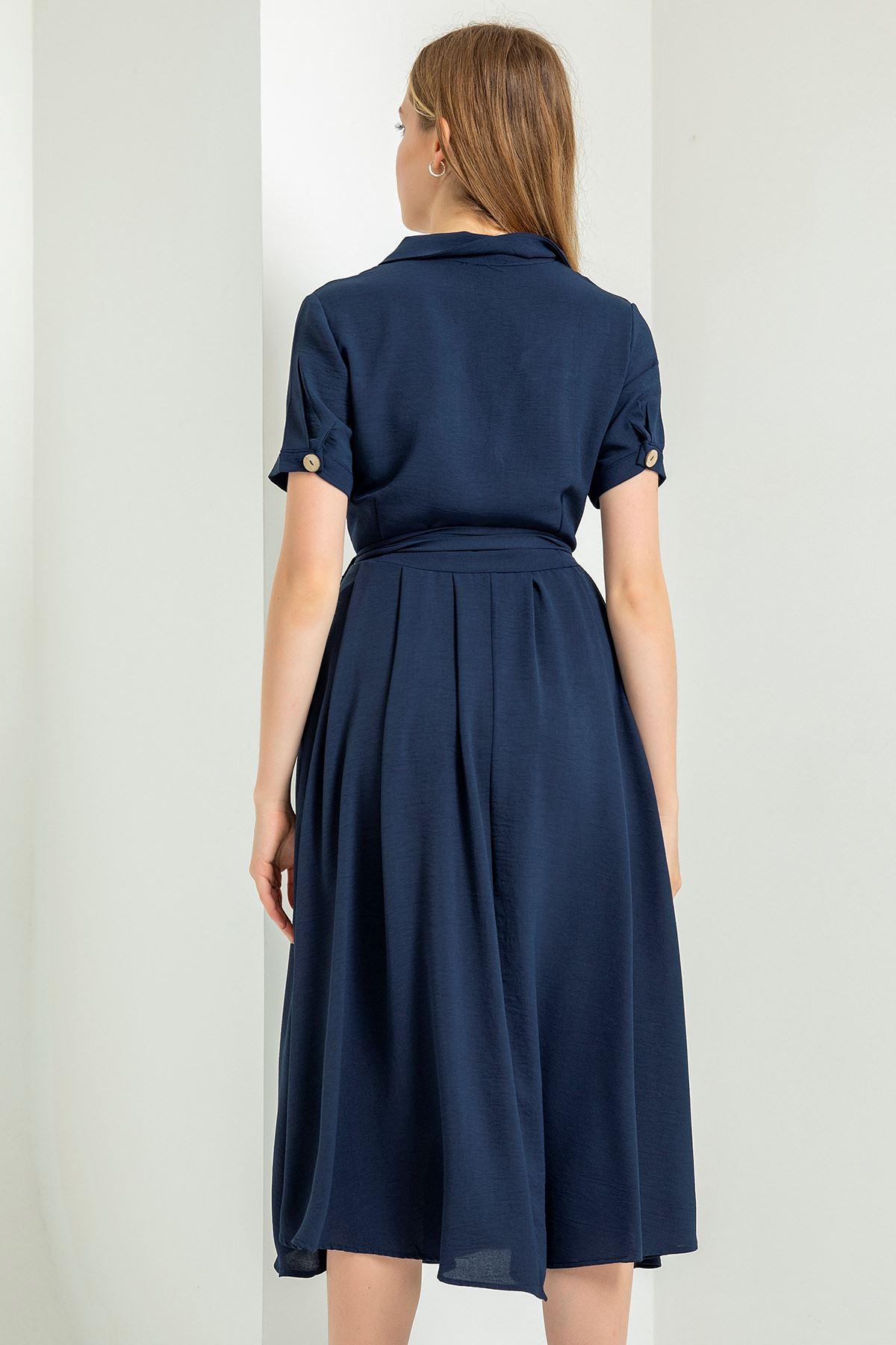 Cep Detay Elbise-Lacivert