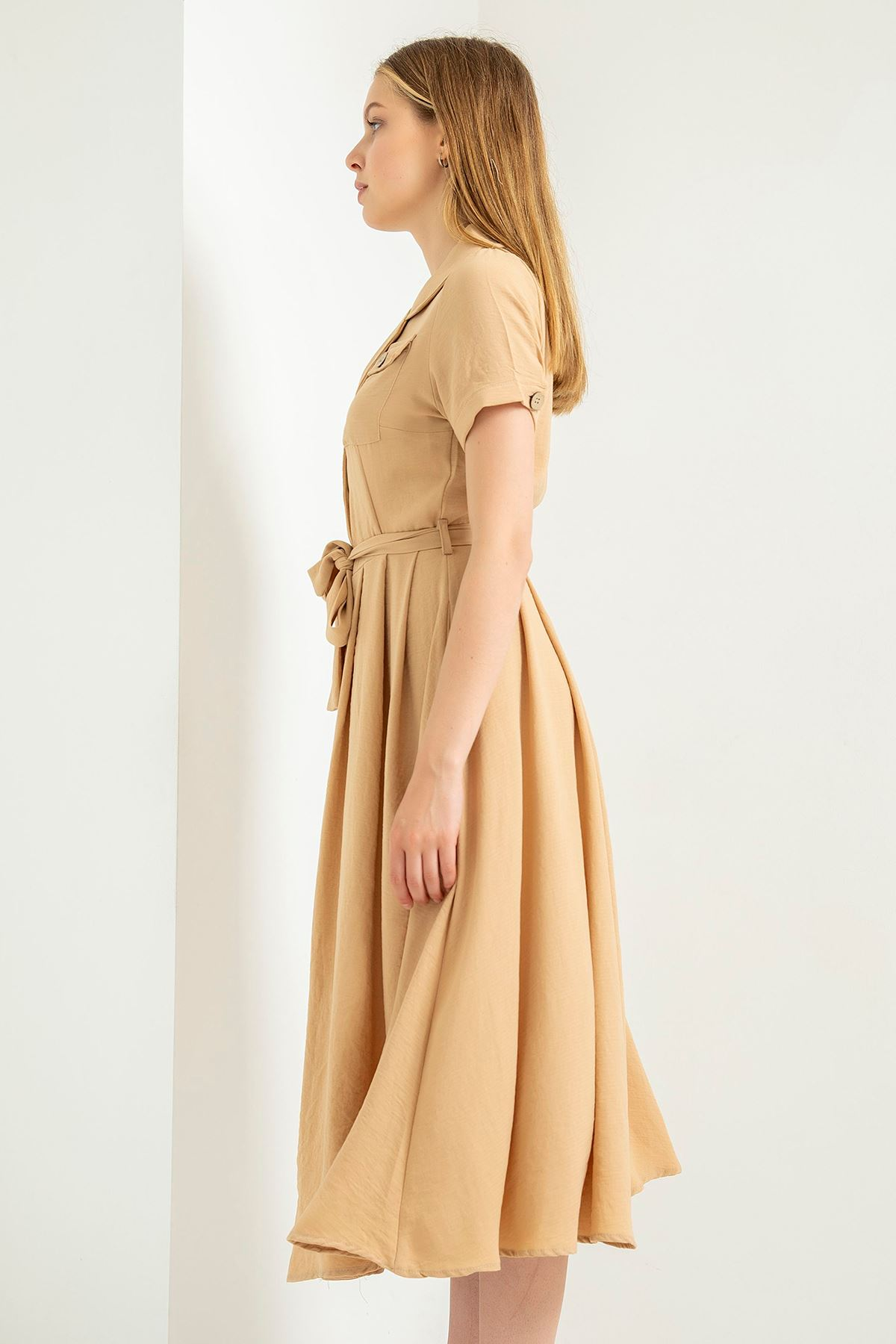 Cep Detay Elbise-Taş