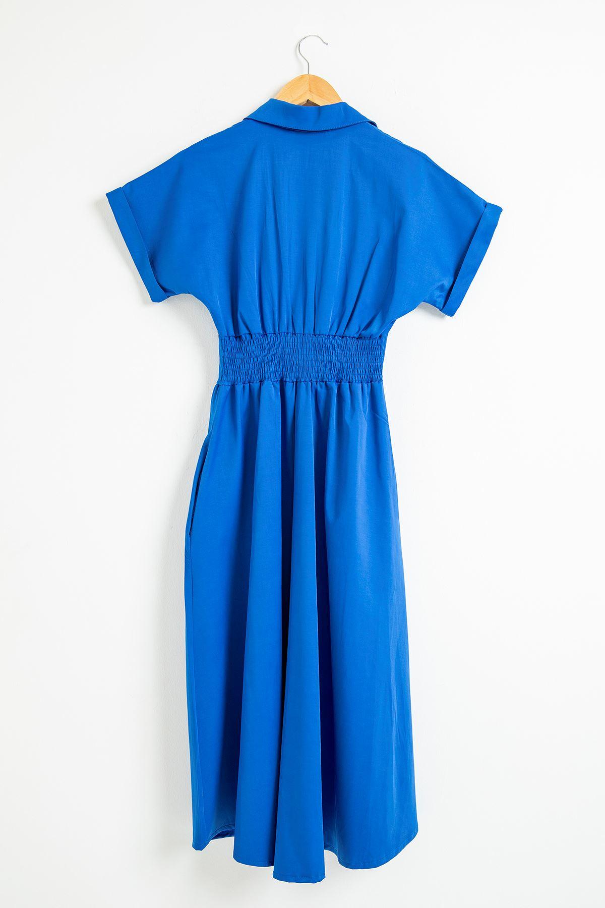 Fermuar Detay Kısa Kol Elbise-Saks