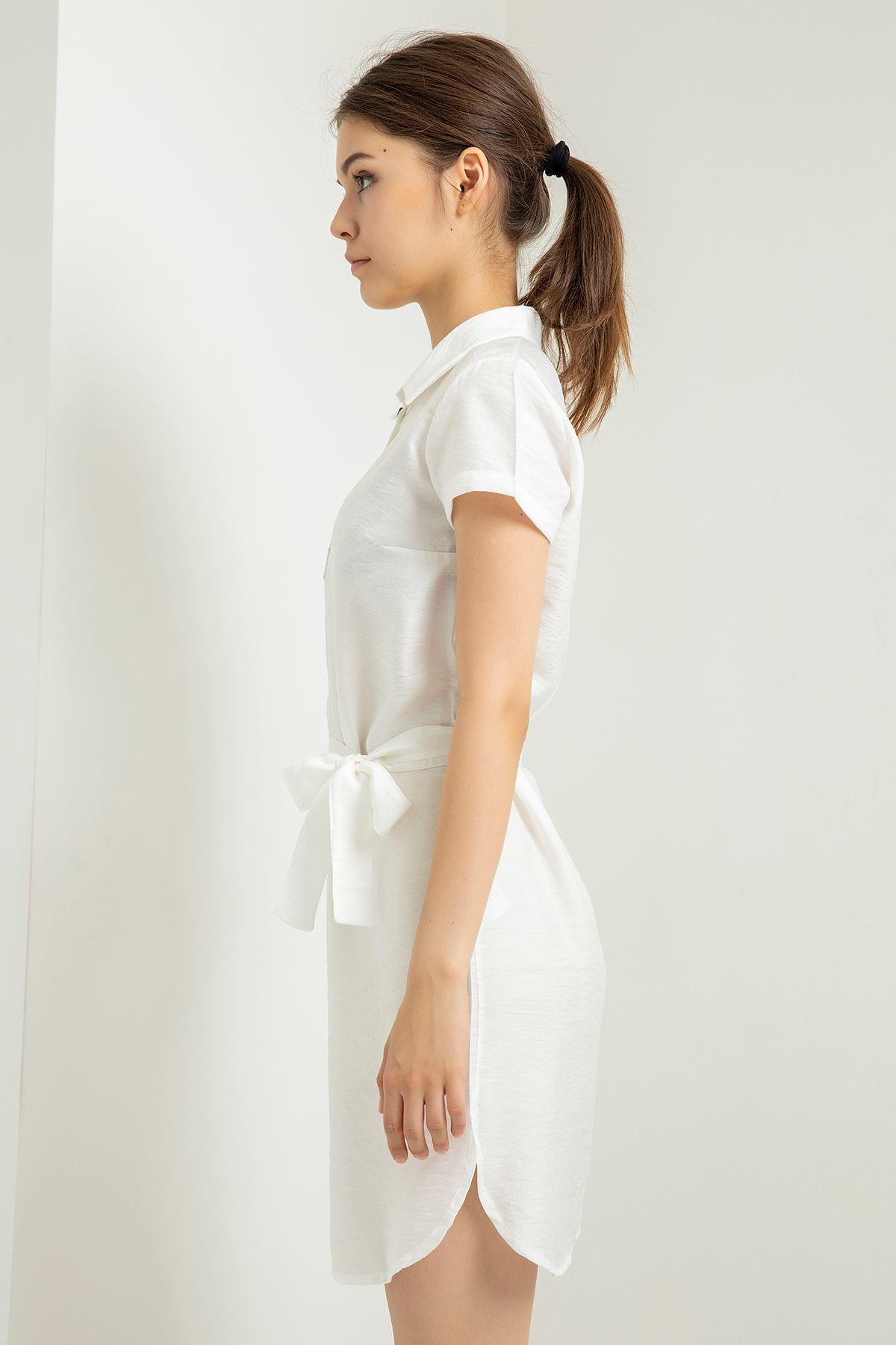 Polo Yaka Düğme Detay Elbise-Ekru