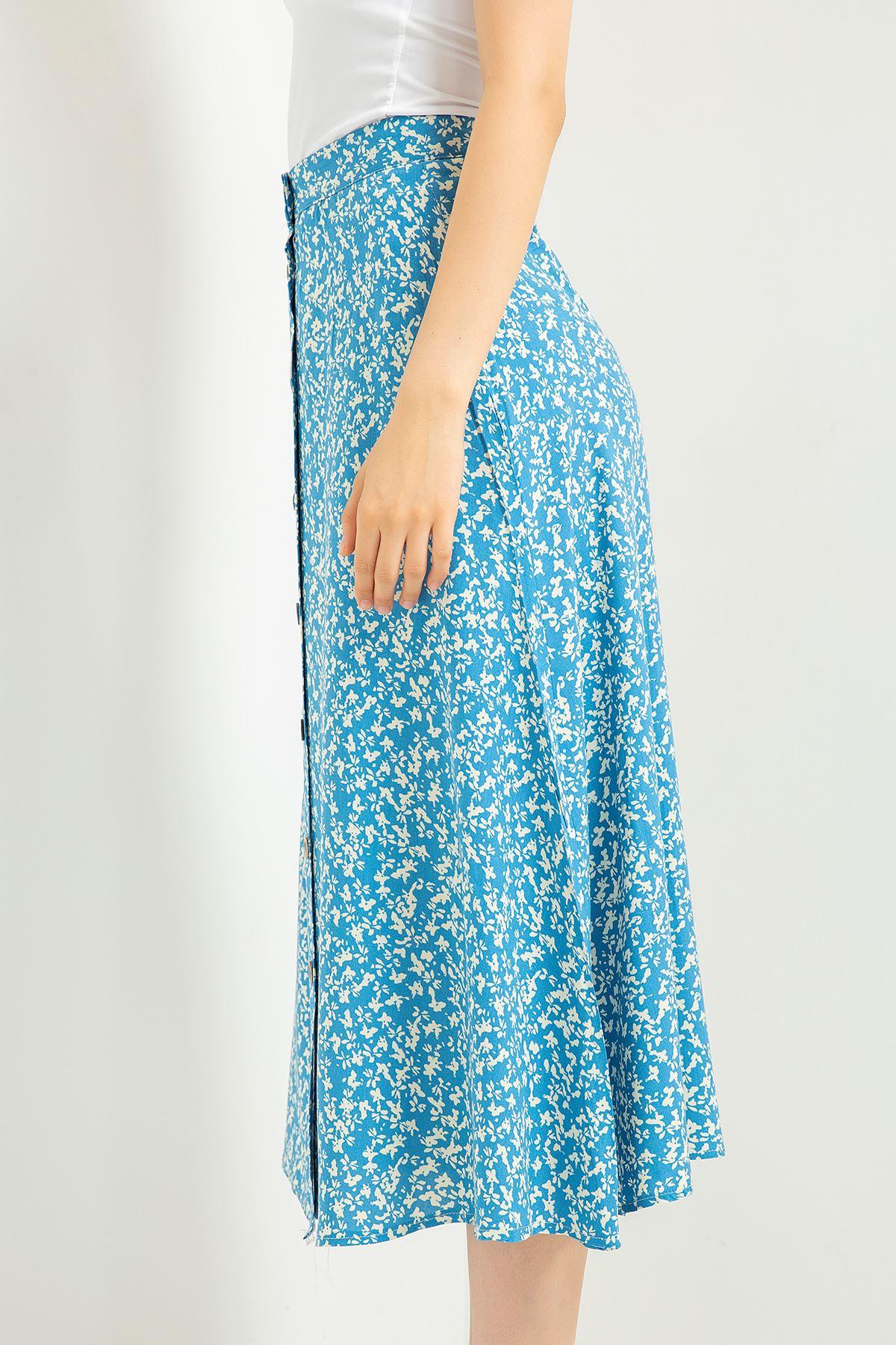Çıtır Çiçek Desen Etek-Mavi