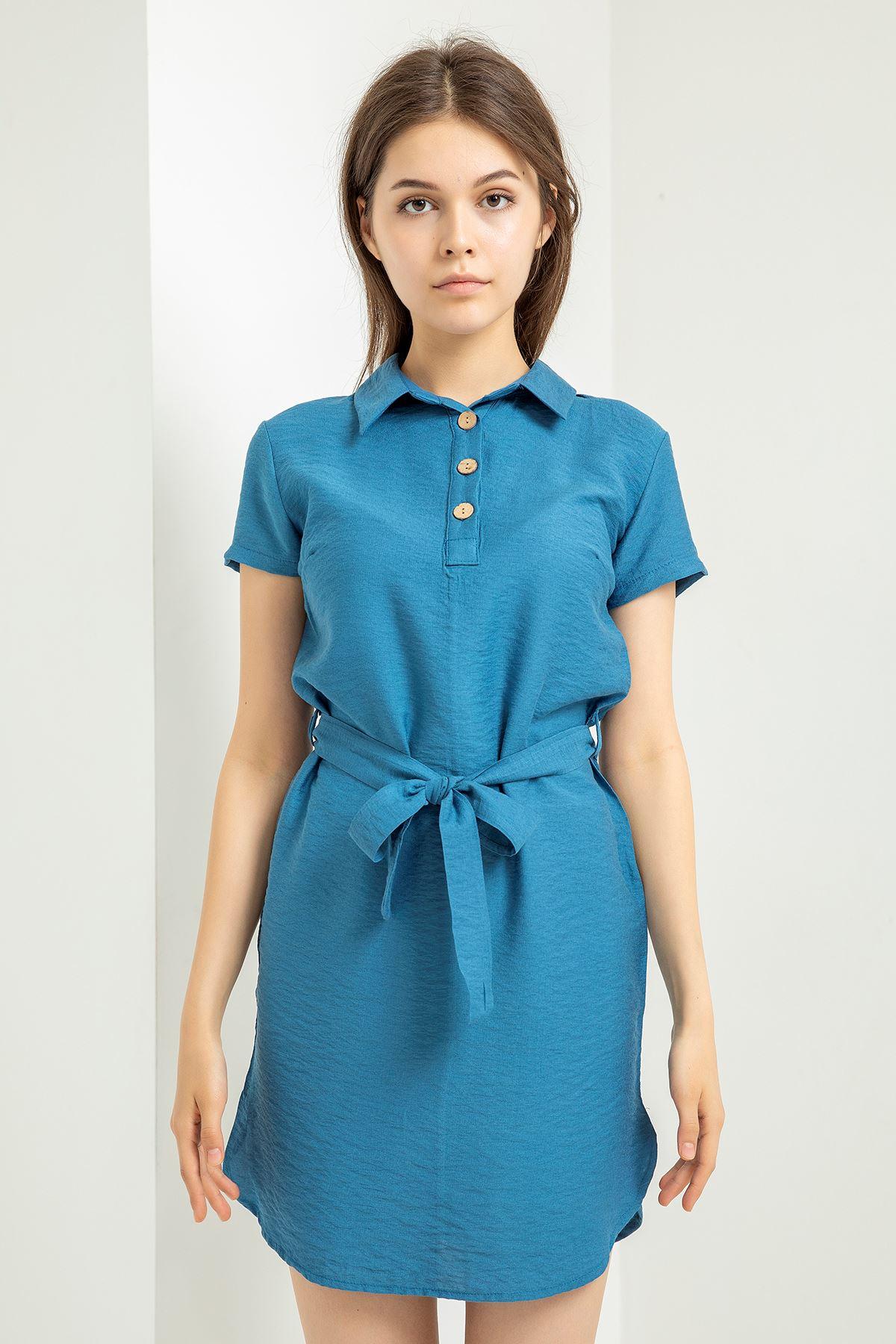 Polo Yaka Düğme Detay Elbise-İndigo