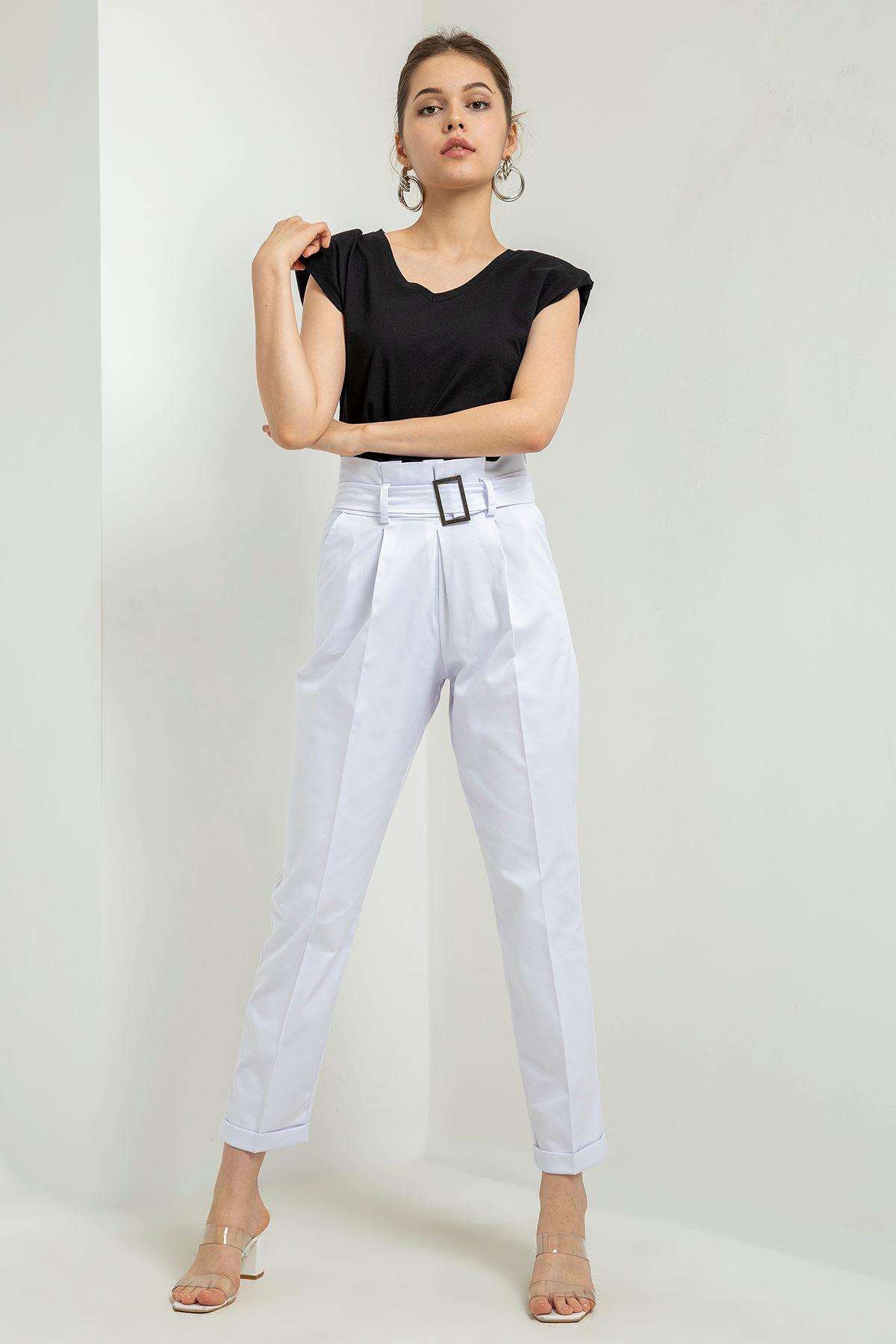 Yüksek Bel Kemerli Pantolon-Ekru