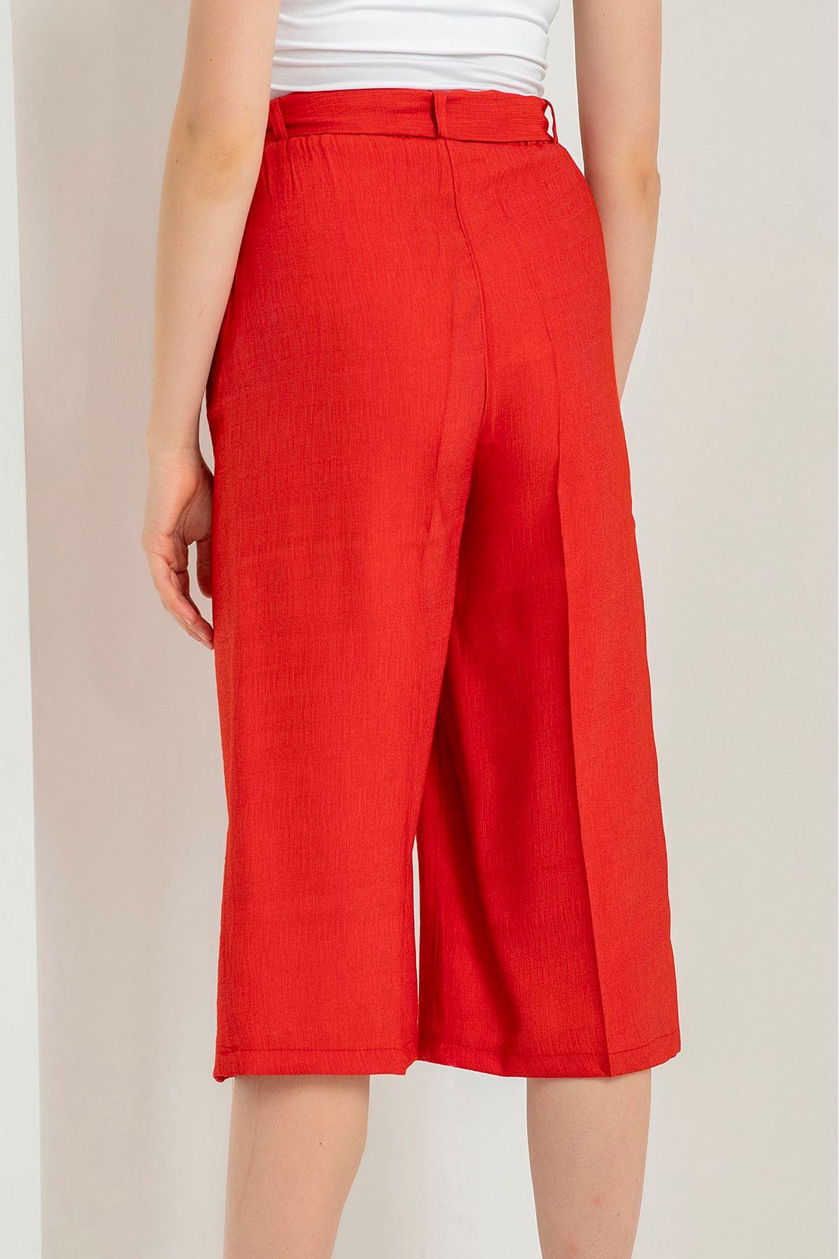 Kuşaklı Midi Pantolon-Kırmızı