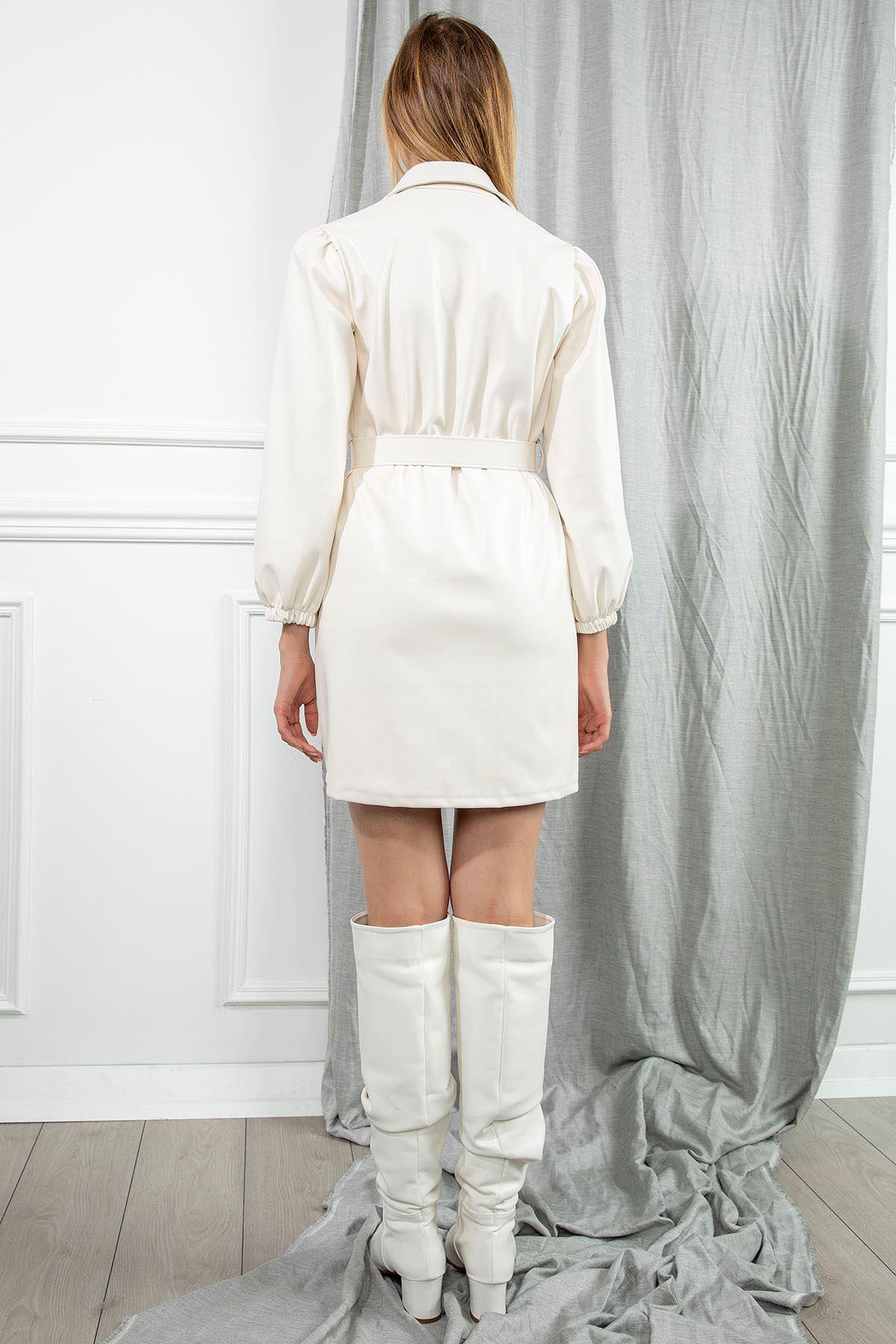 Deri Elbise-Ekru