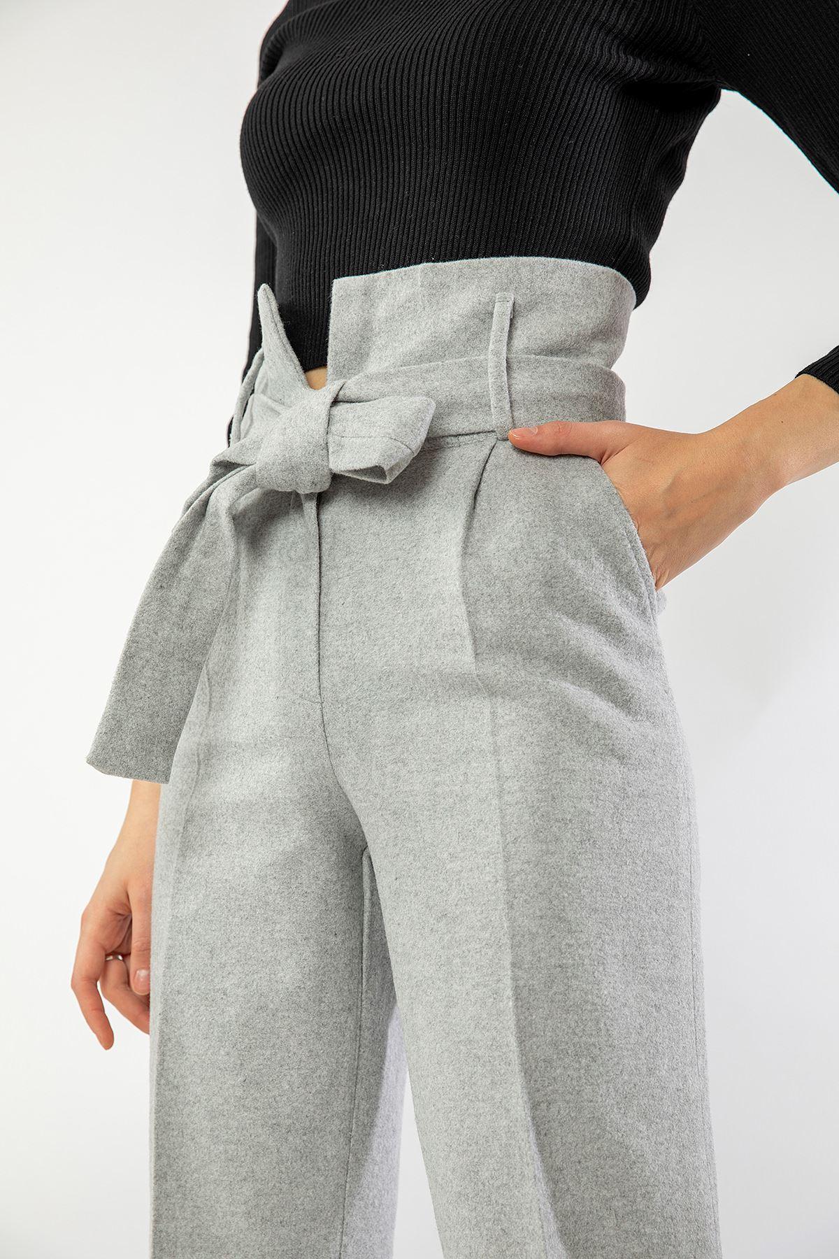 Yüksek Bel Kaşe Pantolon-Gri