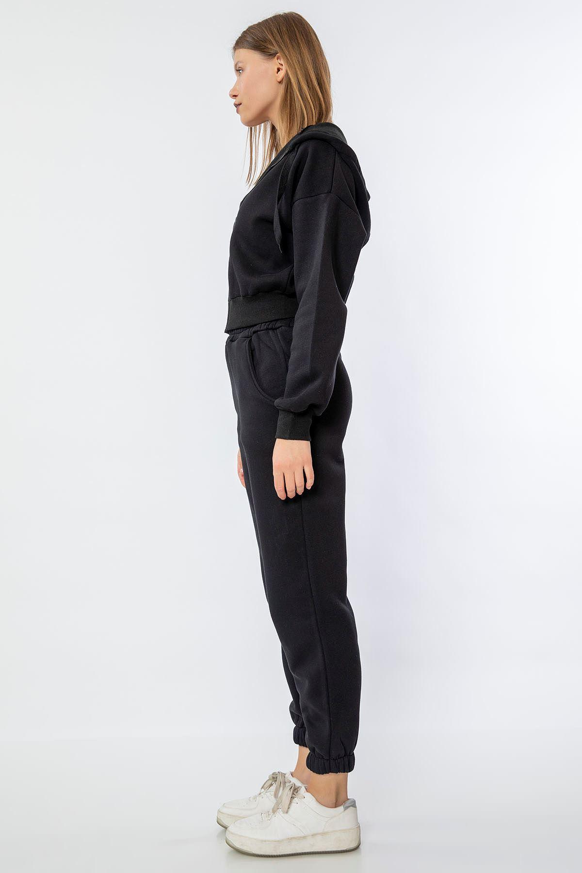 Fermuarlı Sweatshirt-Siyah