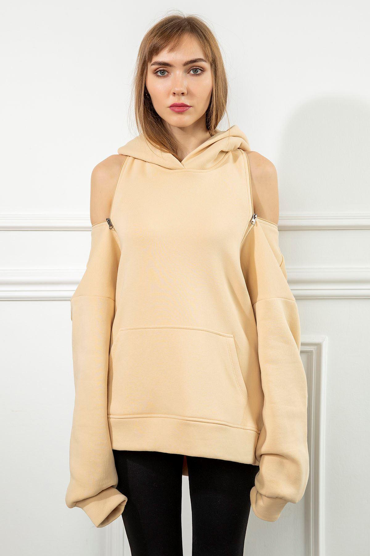 Fermuar Detay Sweatshirt-Taş