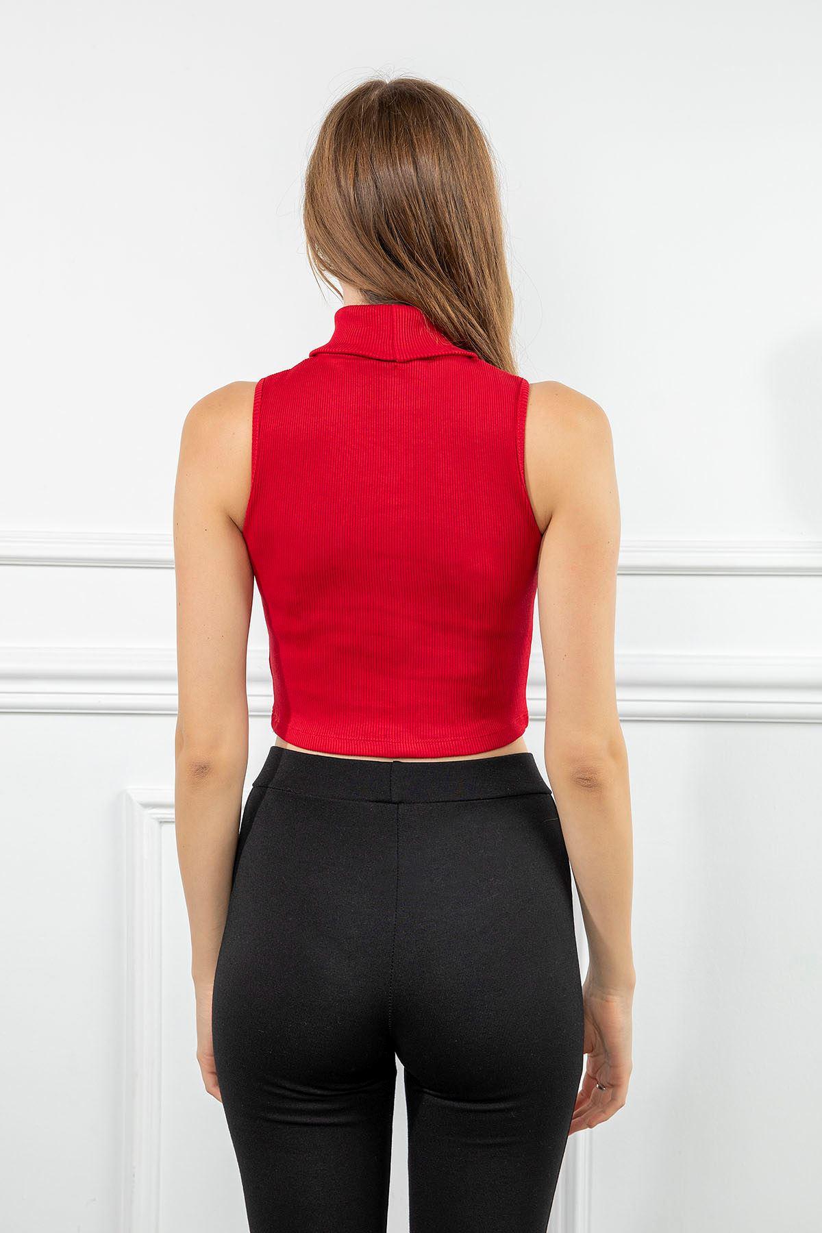 Boğazlı Kaşkorse Bluz-Kırmızı