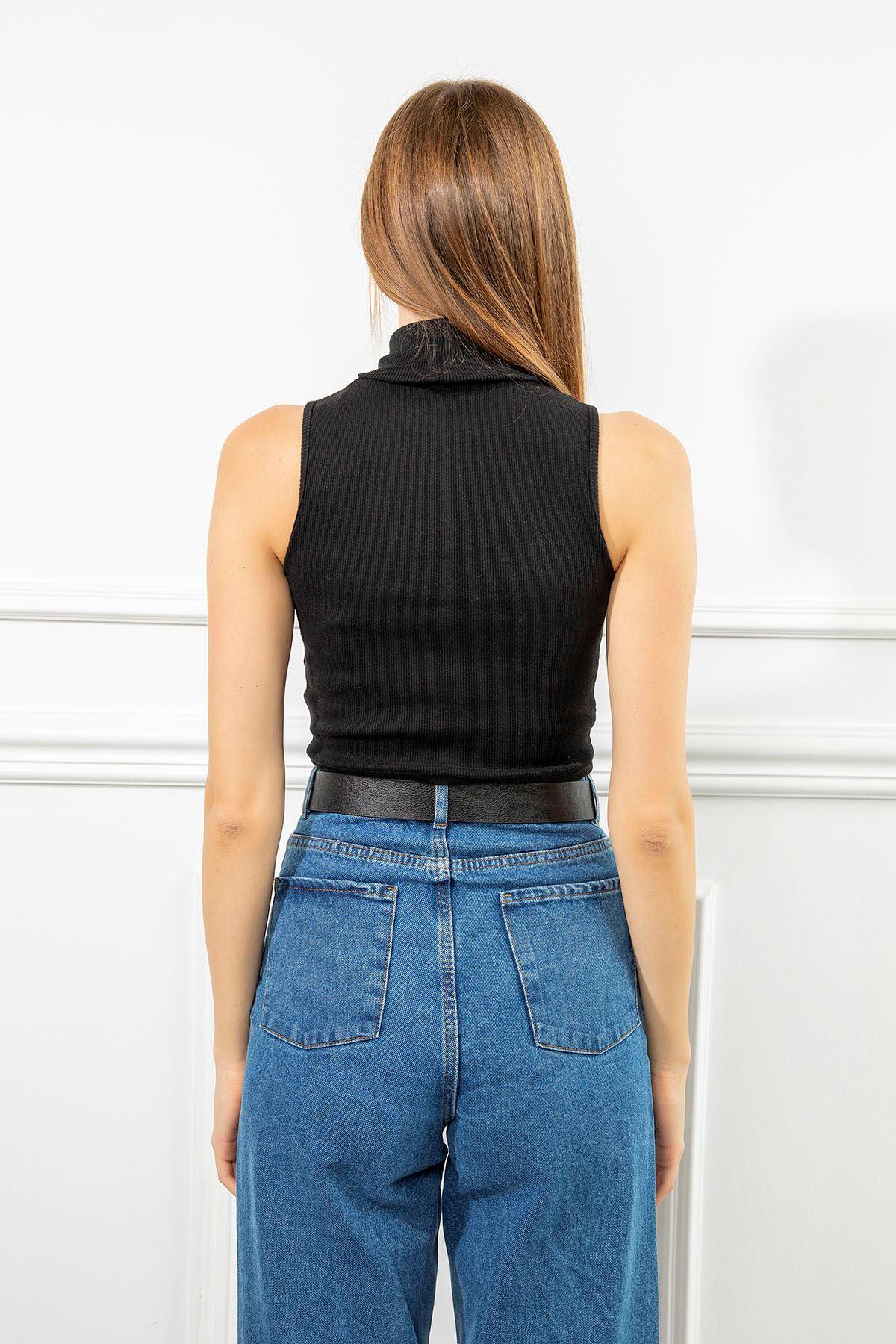 Boğazlı Kaşkorse Bluz-Siyah