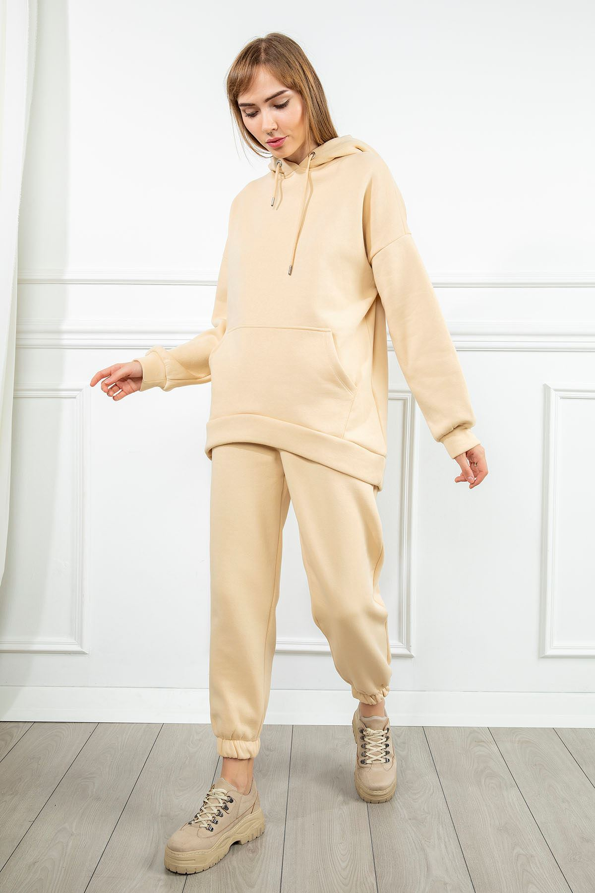 Kapşonlu Salaş Sweatshirt-Taş