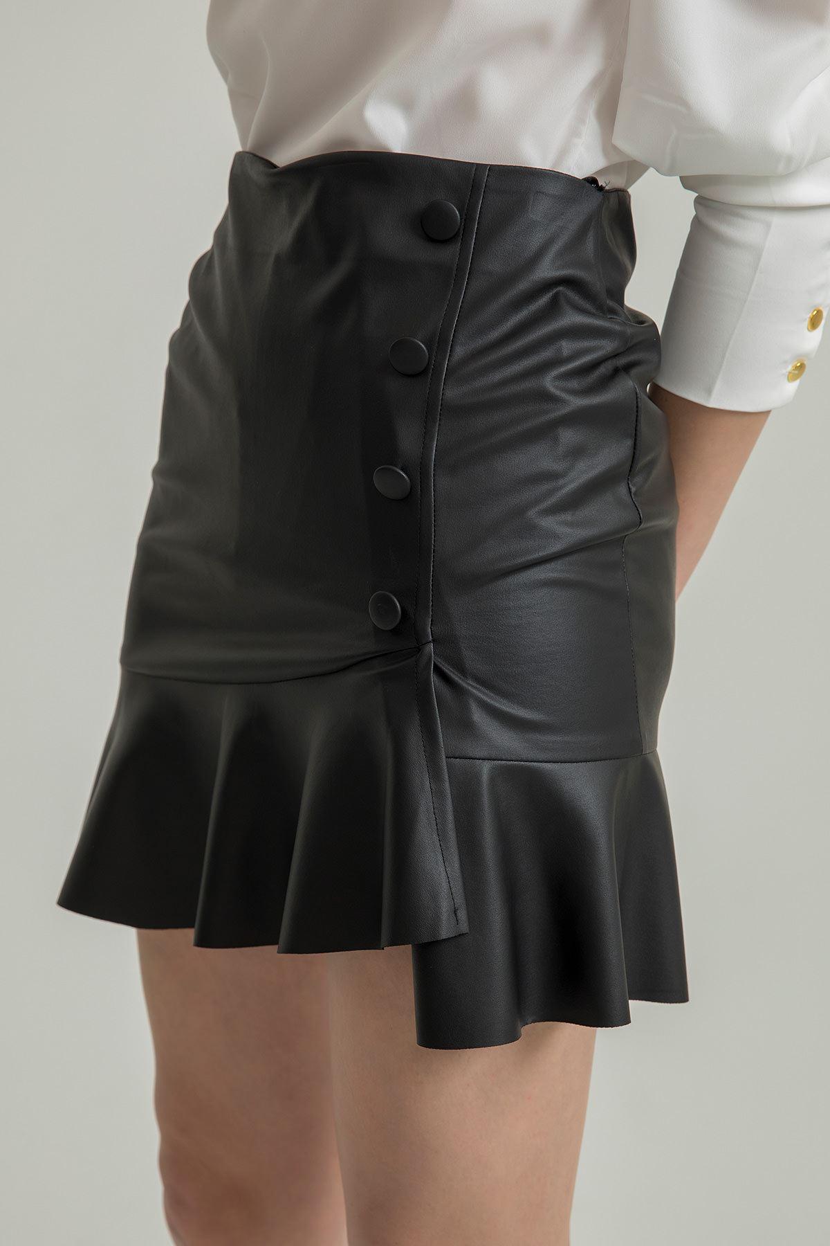 Volan Detay Deri Etek-Siyah