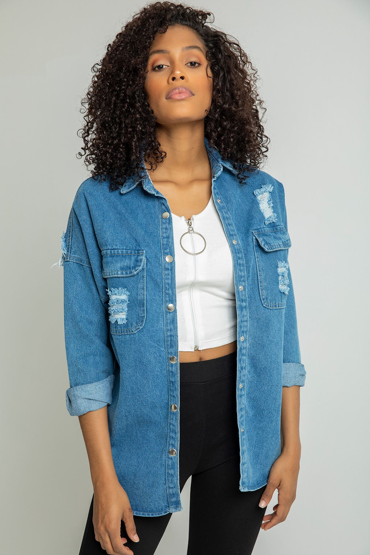 Baskı Detay Kot Ceket-Mavi