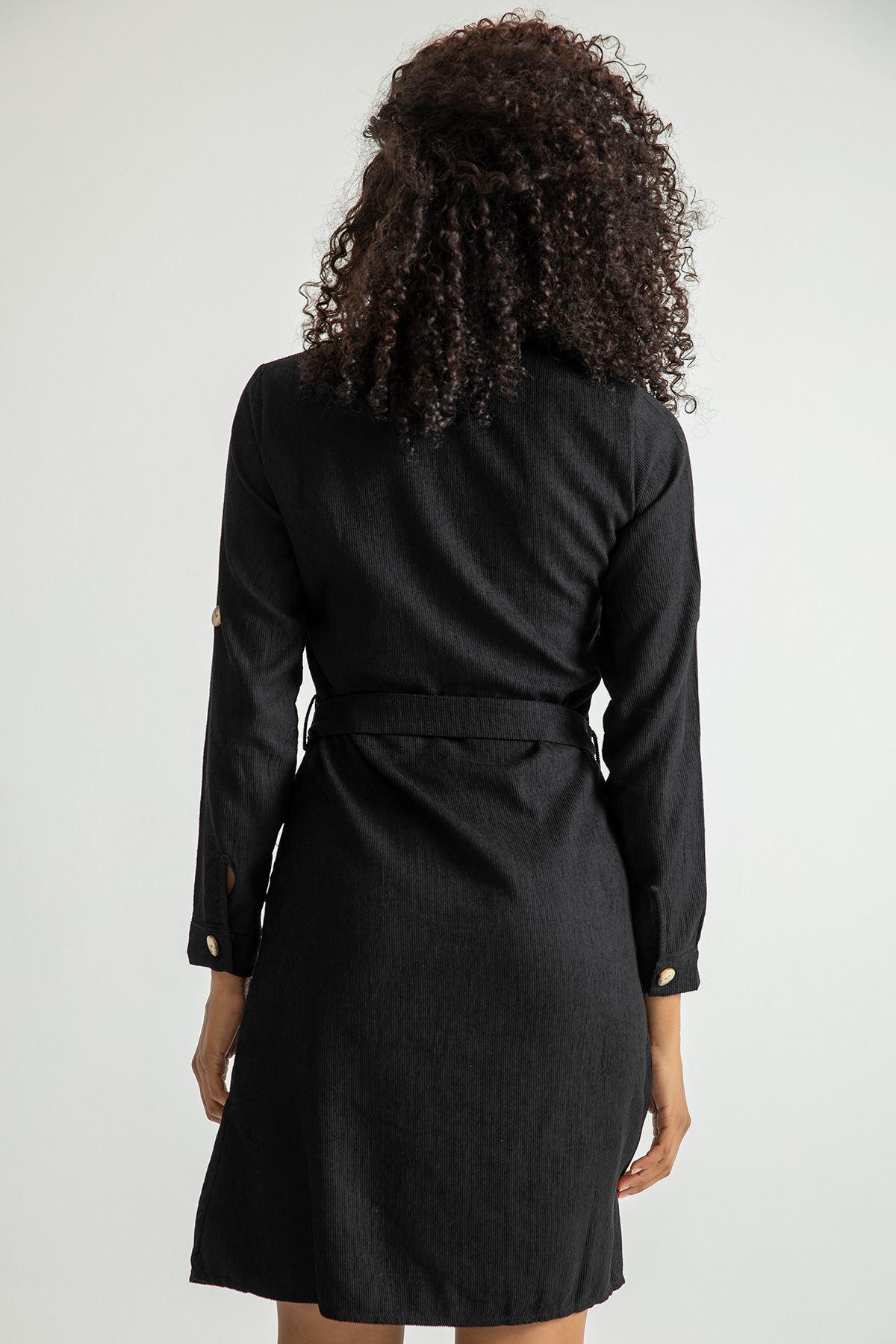 Kuşaklı Kadife Elbise-Siyah