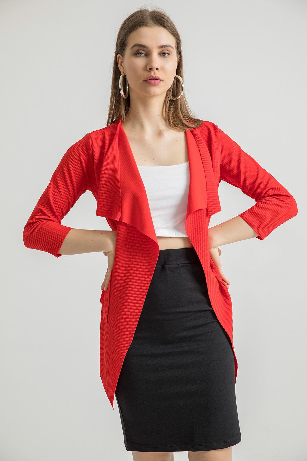 Şal Yaka Ceket-Kırmızı