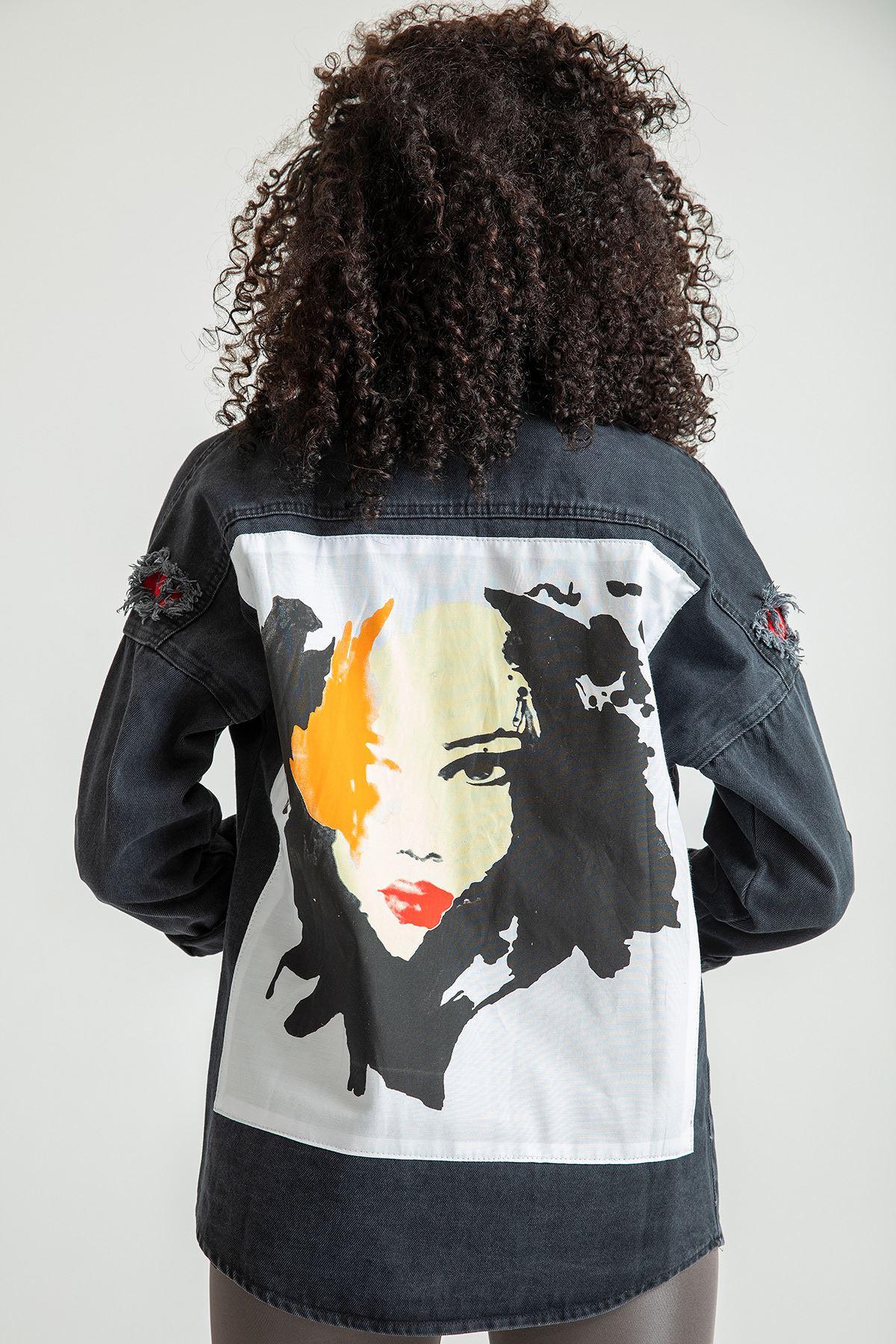 Baskı Detay Kot Ceket-Siyah