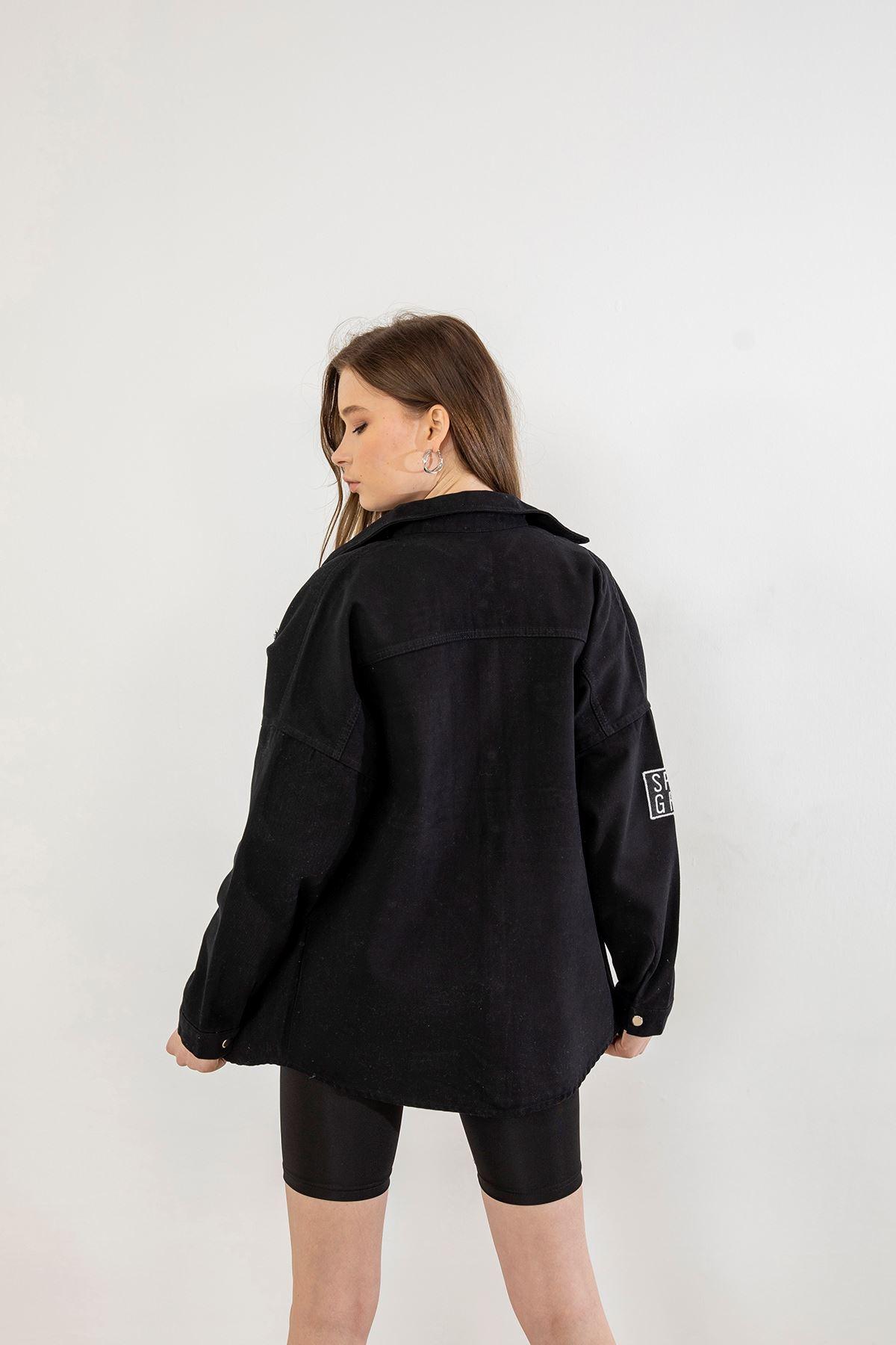 Cepli Yırtık Detay Kot Ceket-Siyah