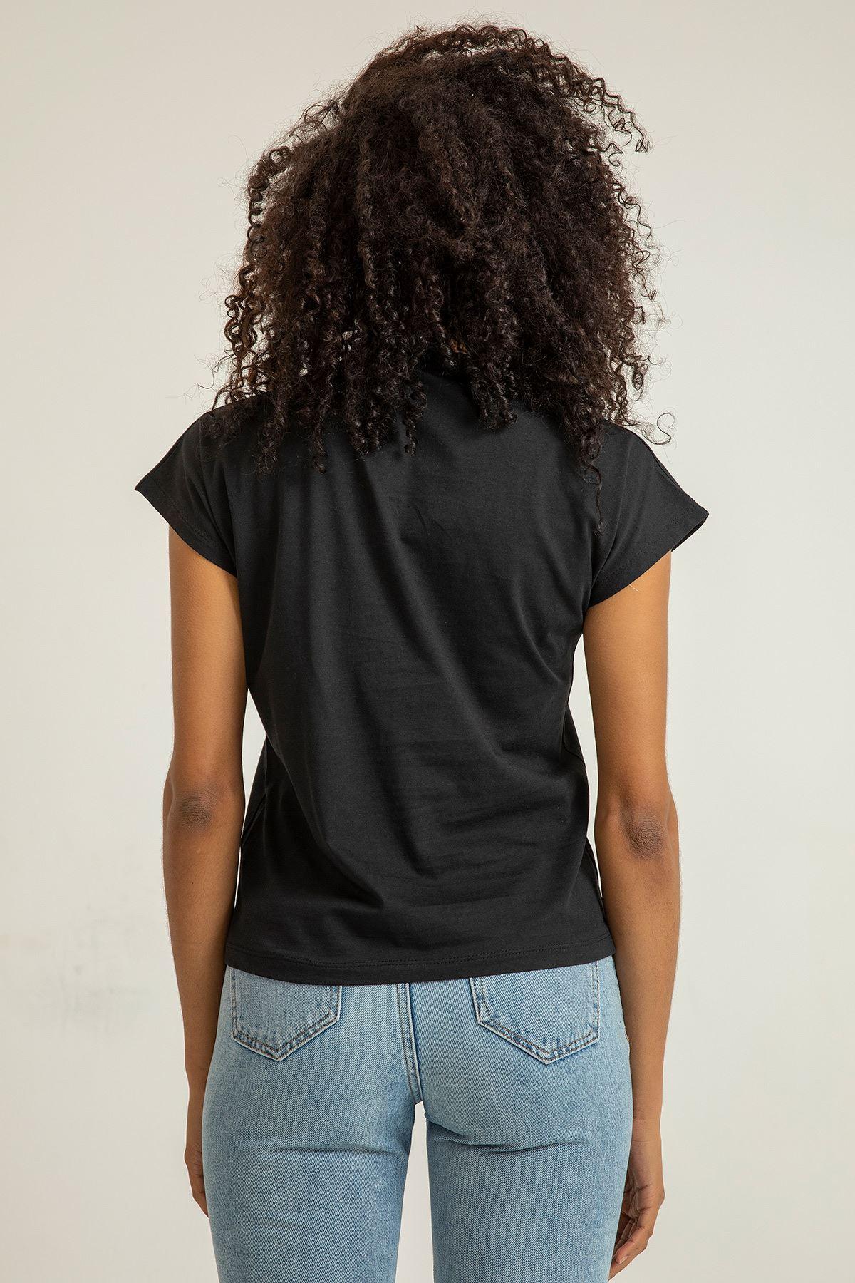 Dik Yaka Kısa Kollu Bluz-Siyah