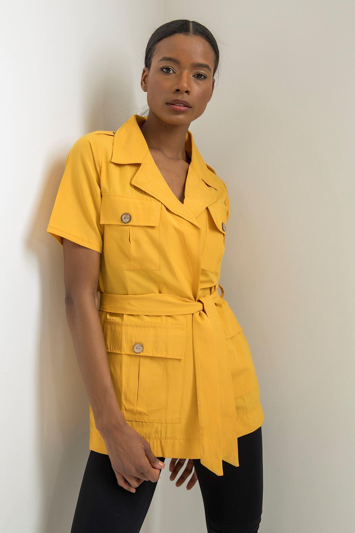 Kısa Kol Cepli Ceket-Sarı