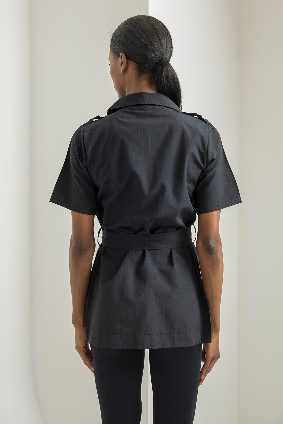 Kısa Kol Cepli Ceket-Siyah