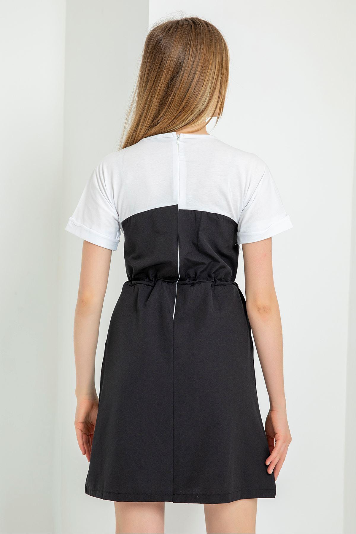 Kısa Kol Beli Lastikli Elbise-Siyah