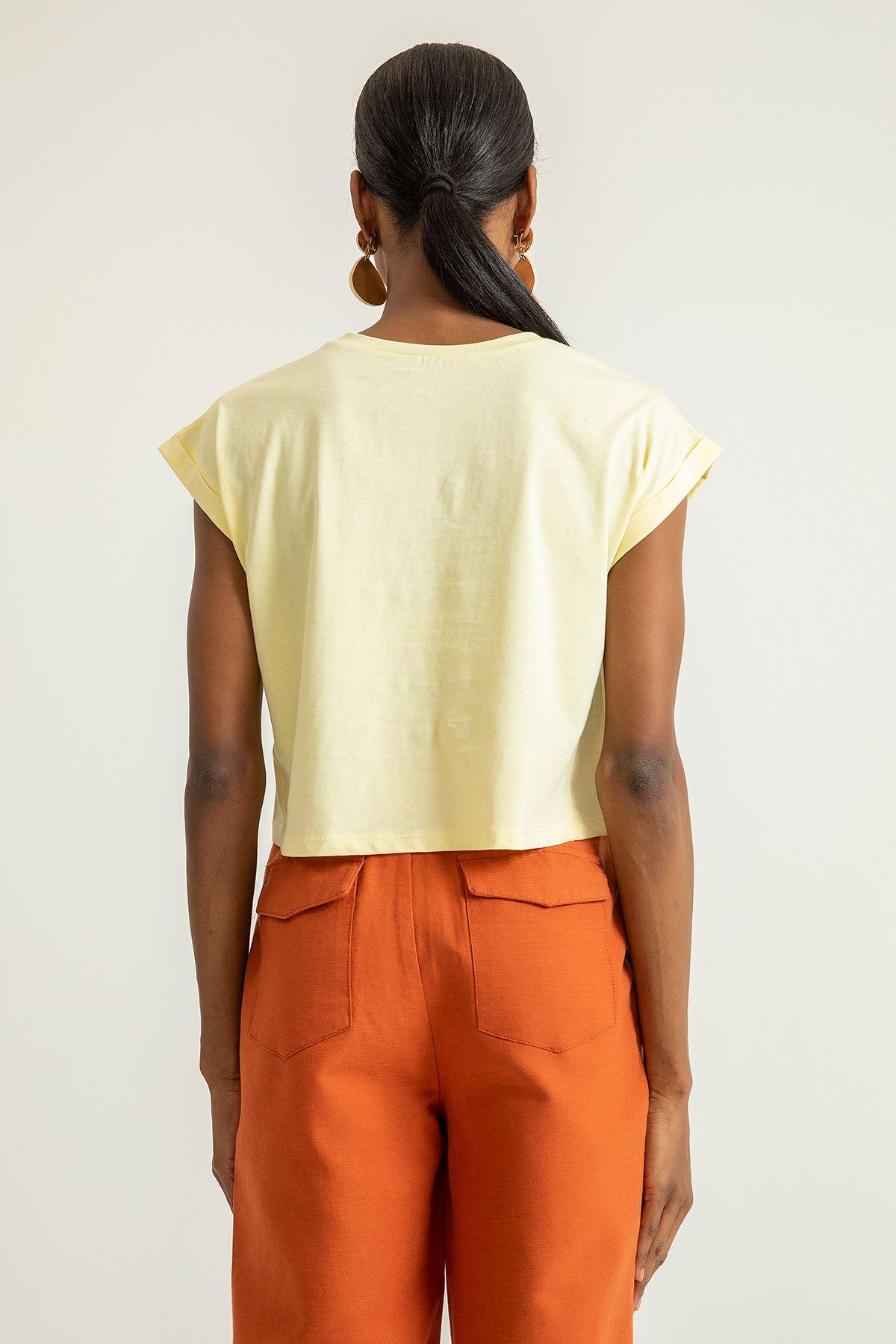 Yarasa Kol T-shirt-Sarı