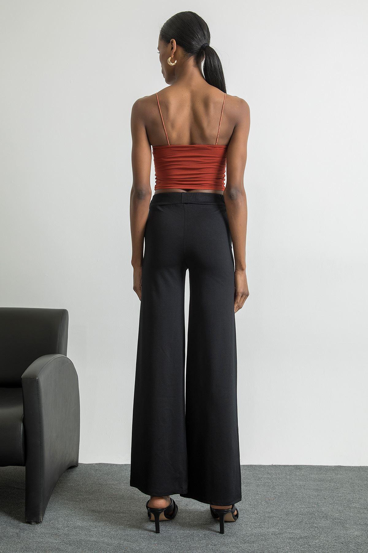 Tokalı Bol Paça Pantolon-Siyah