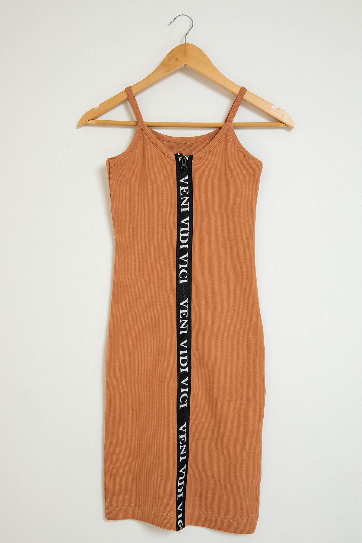 Fermuarlı Yazı Detay Elbise-Soğan