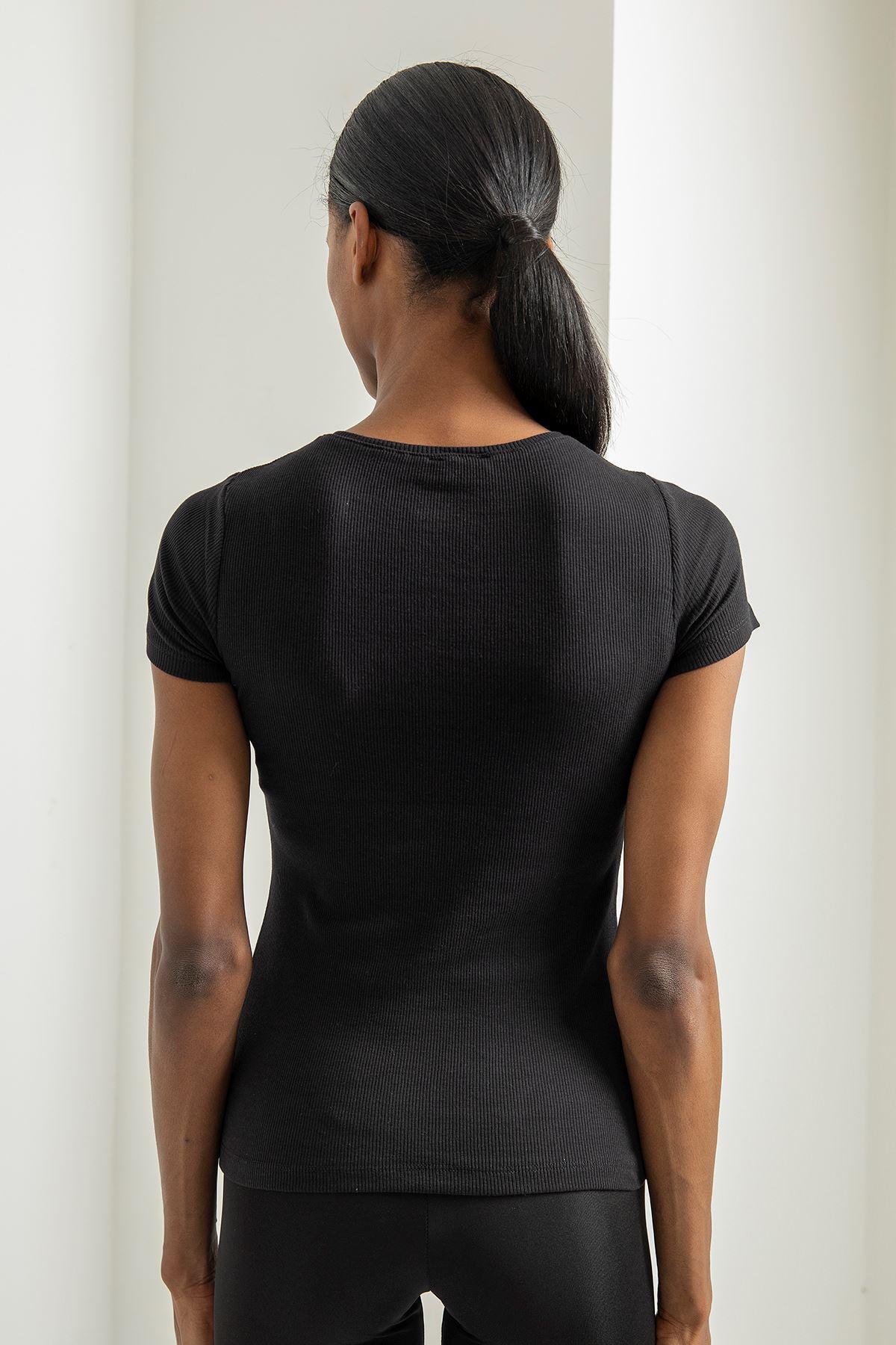 Fermuar Detay Çizgili Tshirt-Siyah