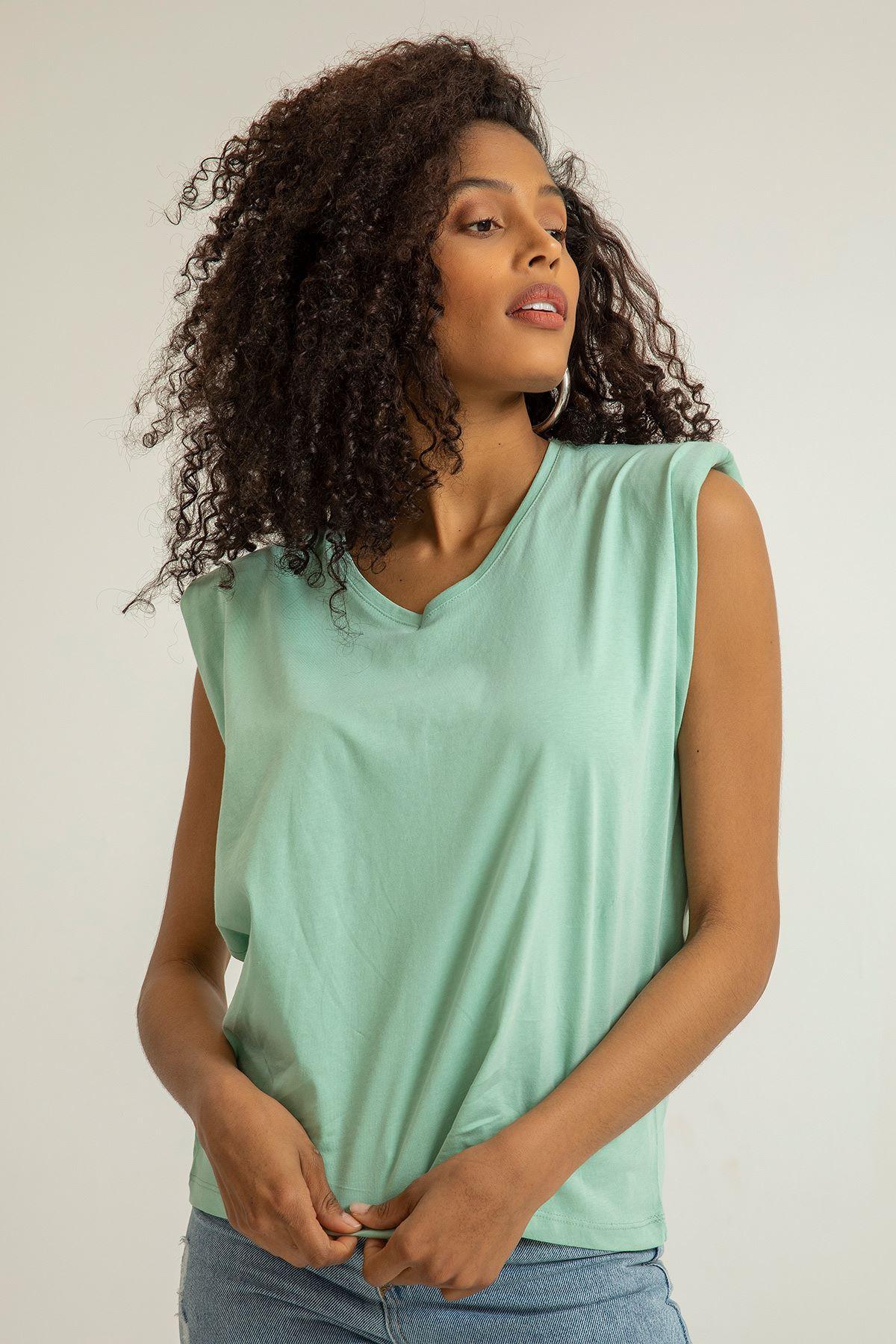 Vatkalı Sıfır Kol T-shirt-Mint