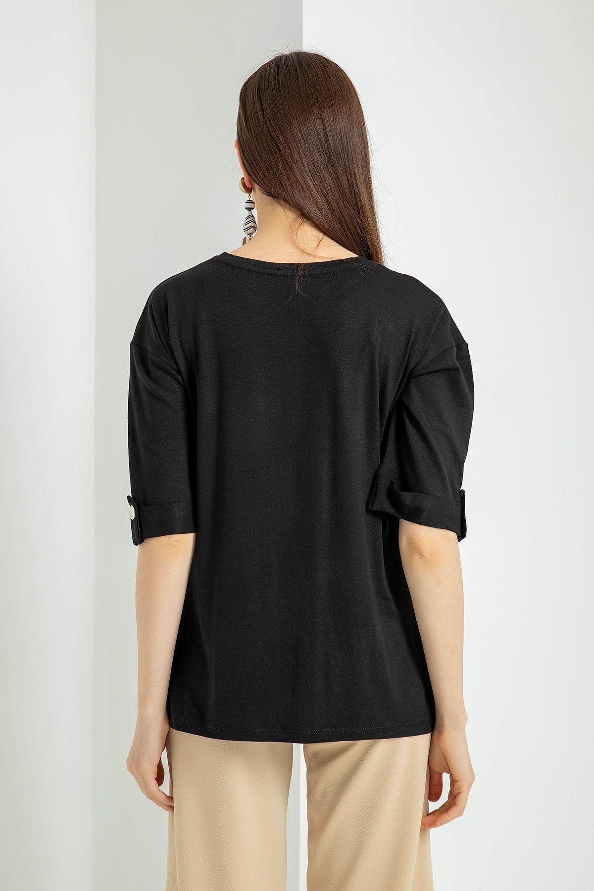 Kolları Çıtçıt Detay Salaş T-shirt-Siyah