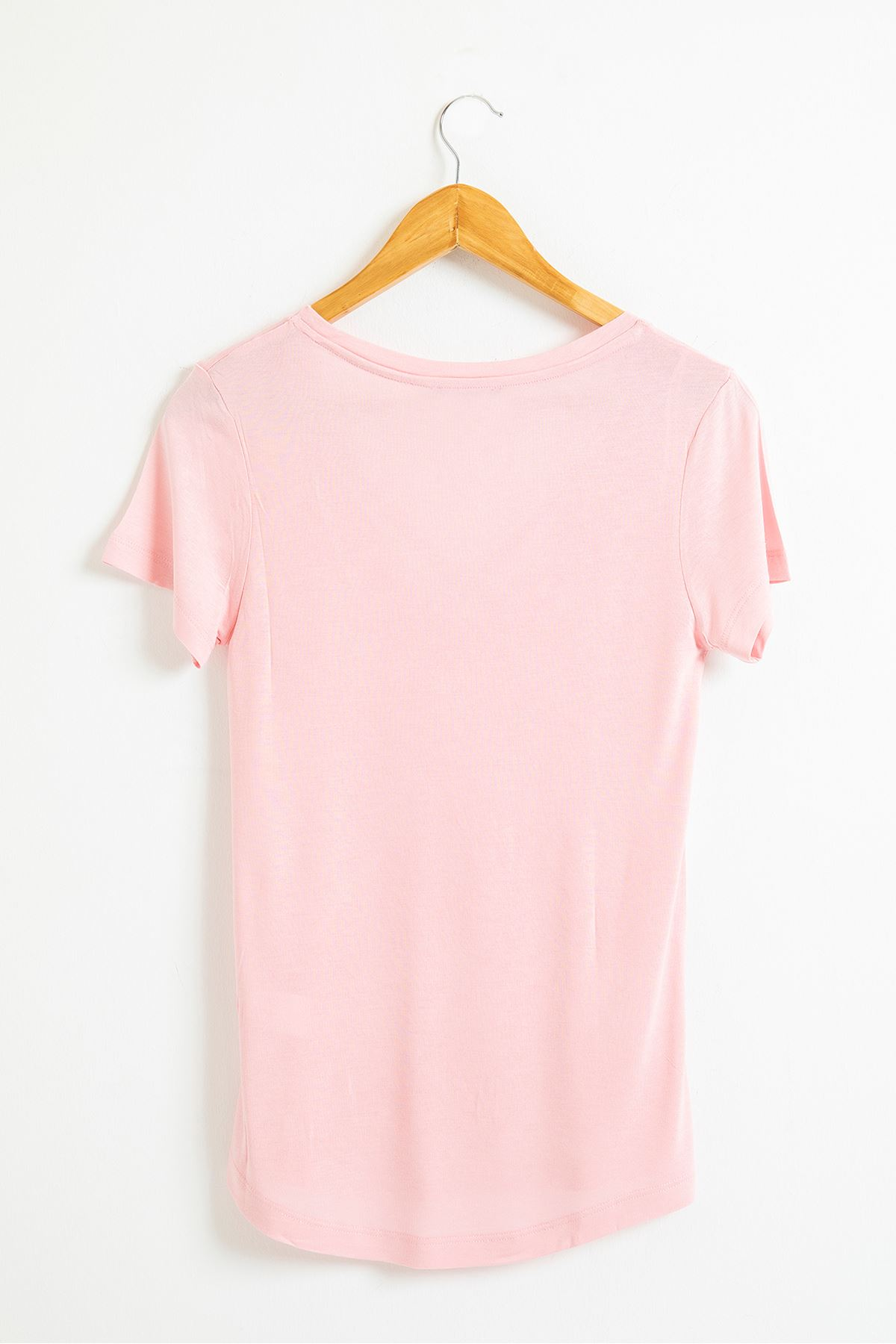 Önü Çarpraz V Yaka T-shirt-Pembe