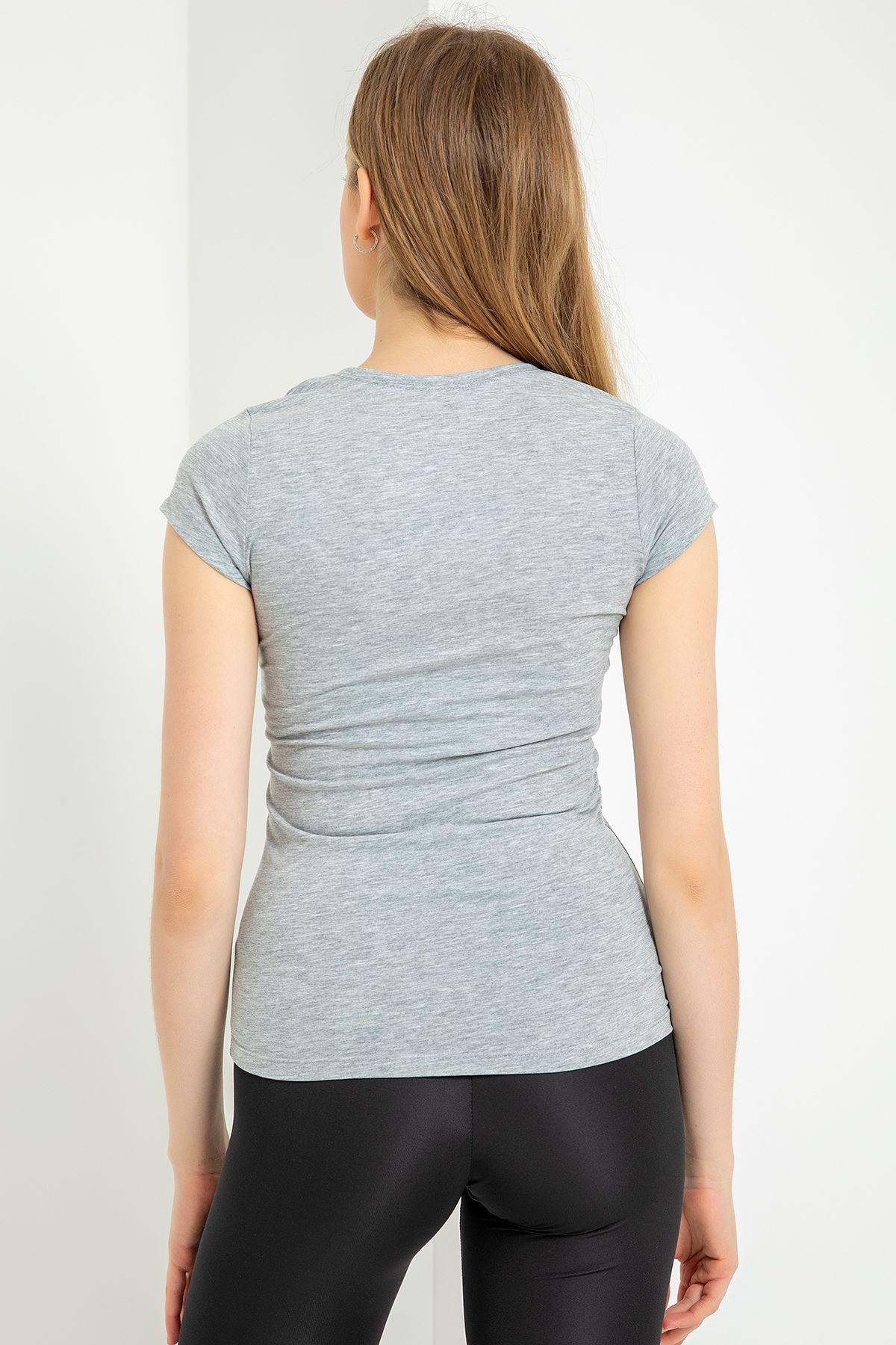 V Yaka Basic T-shirt-Gri