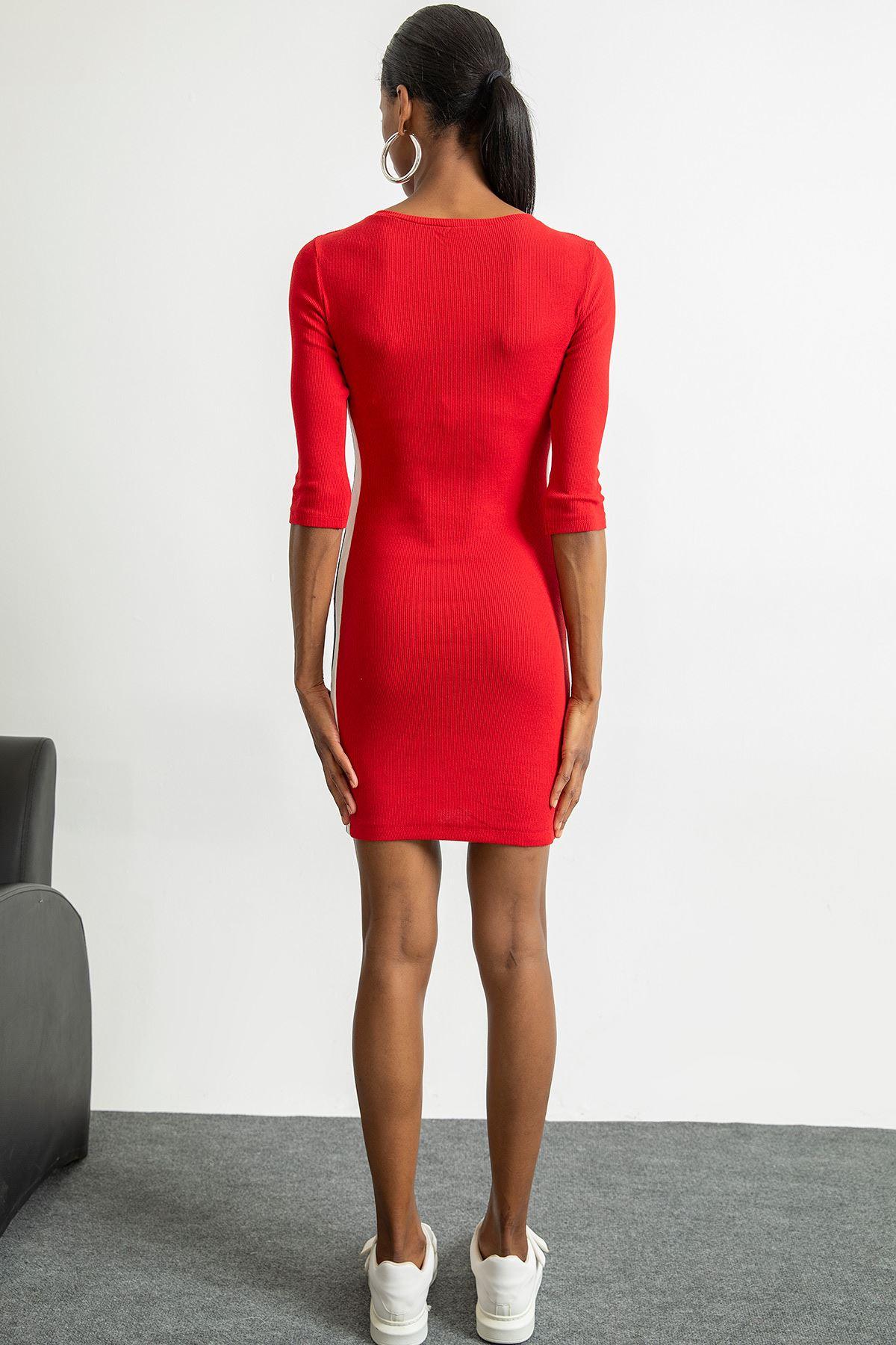 Yarım Kol Yanı Şeritli Kaşkorse Elbise-Kırmızı