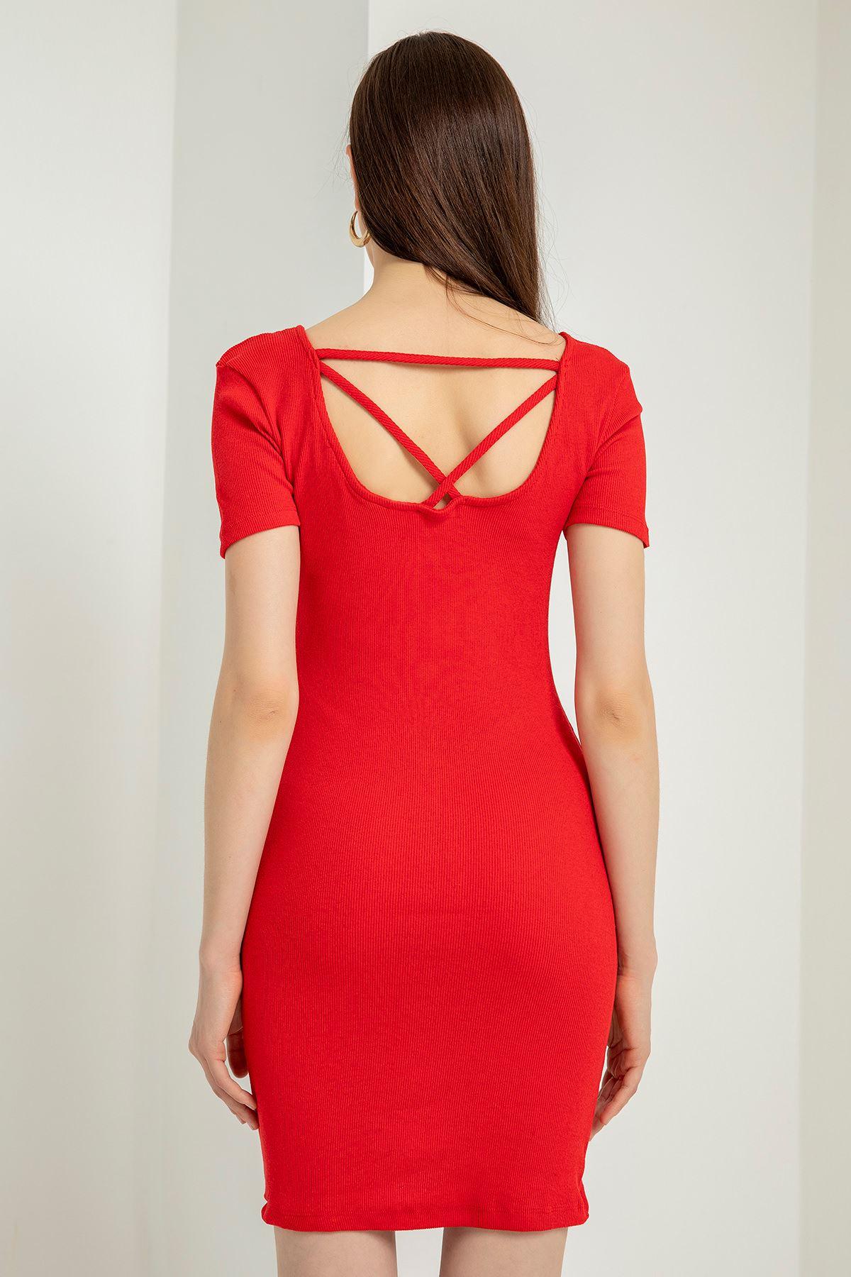Arkası Çarpraz Kaşkorse Elbise-Kırmızı