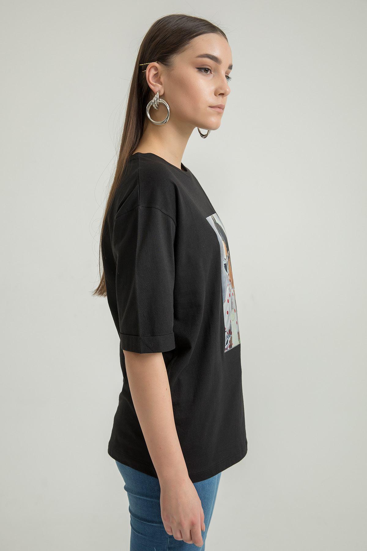 Baskılı Bisiklet Yaka T-shirt-Siyah
