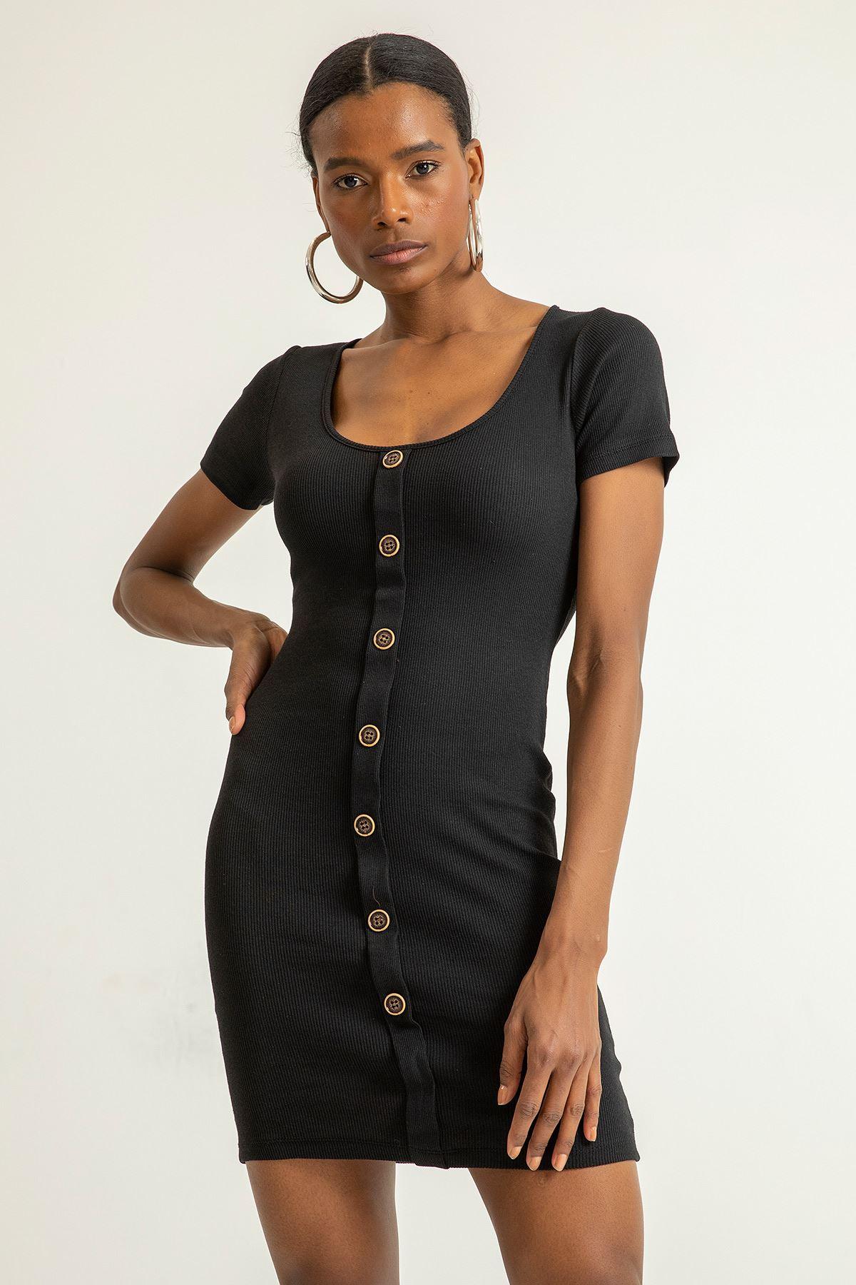 Düğme Detay Kaşkorse Elbise-Siyah