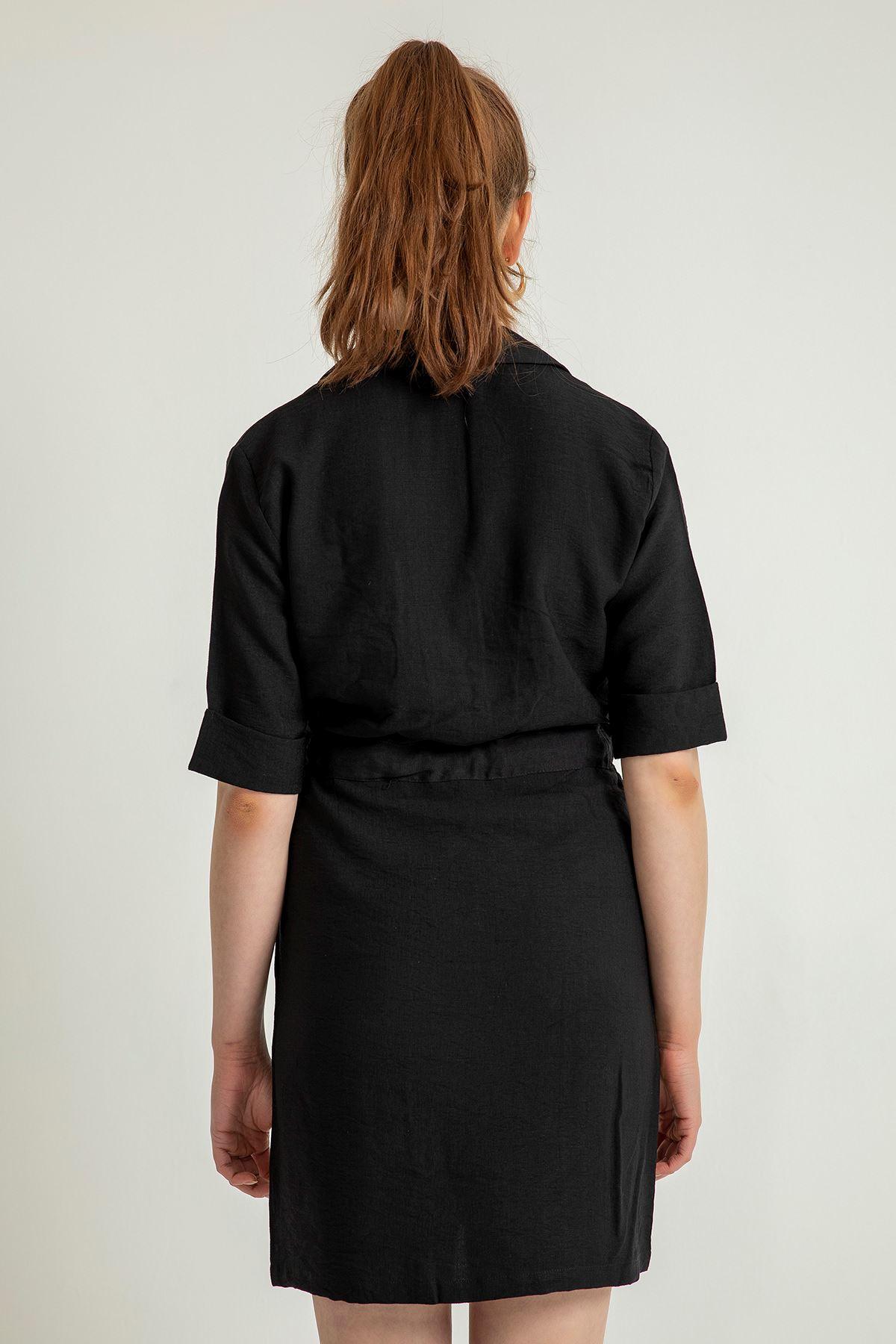 Beli Bağlamalı Kısa Kol Elbise-Siyah