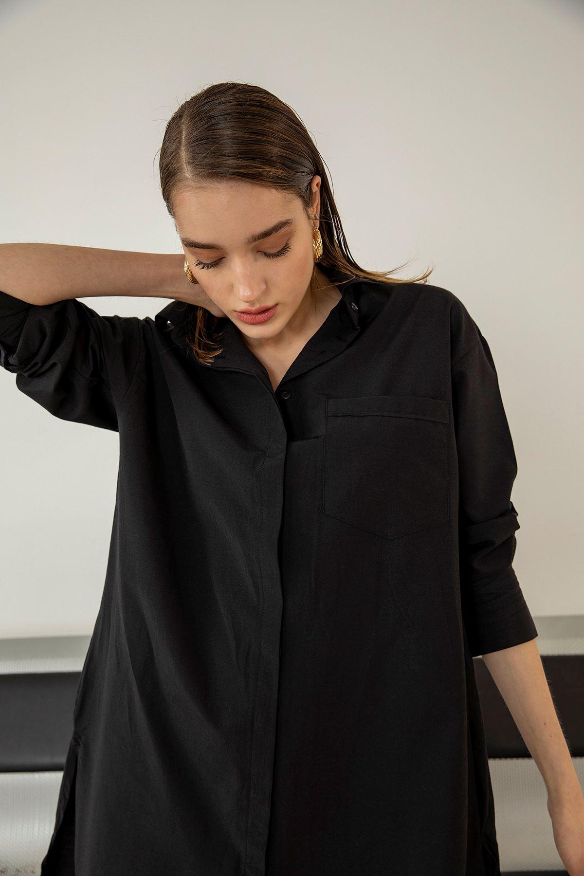 Uzun Salaş Gömlek-Siyah