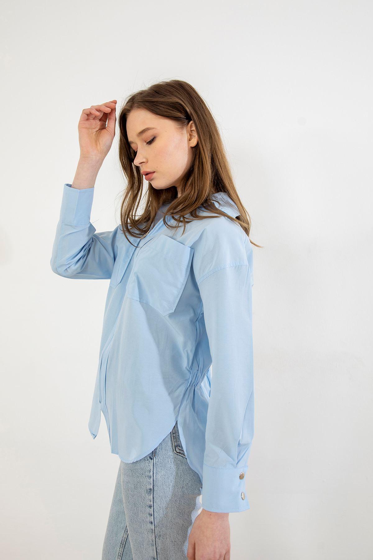Fermuarlı Gömlek-Mavi