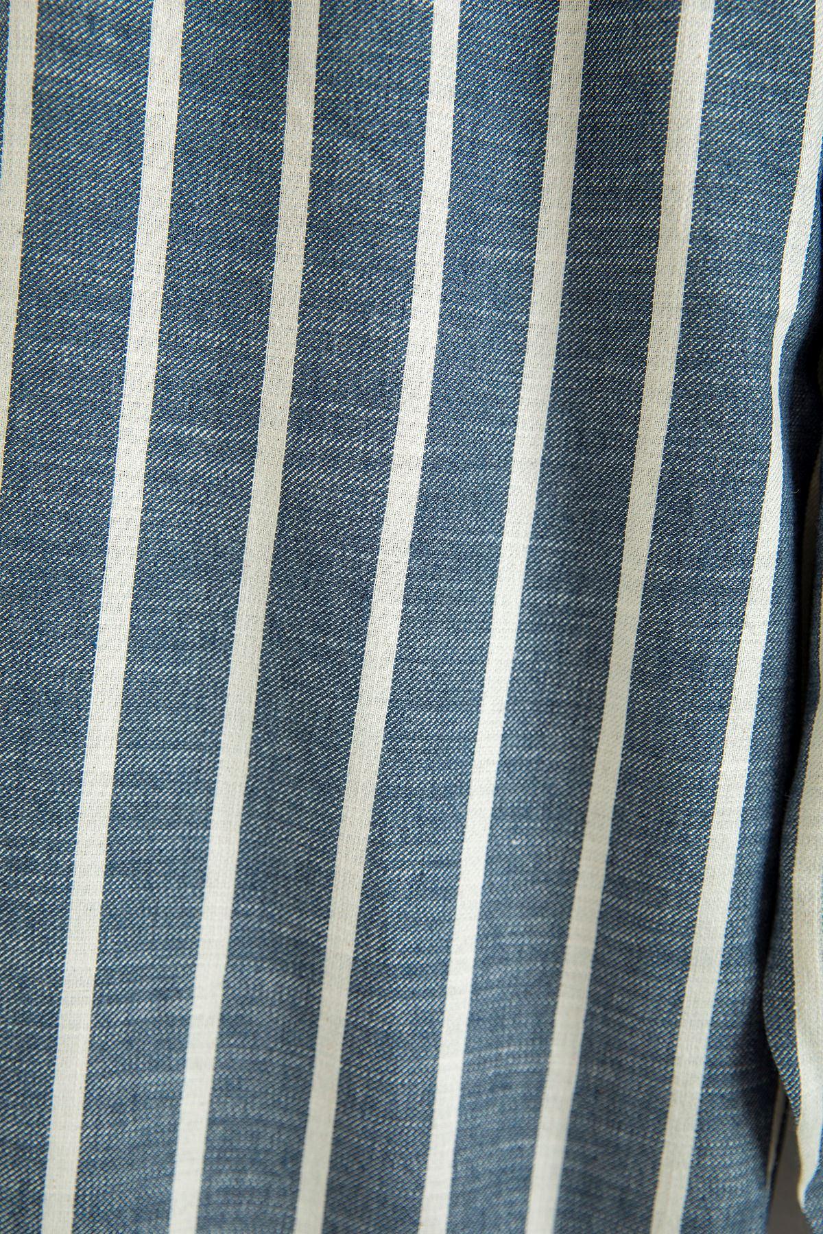 Çizgili Paçası Lastikli Eşofman Altı-Koyu Mavi