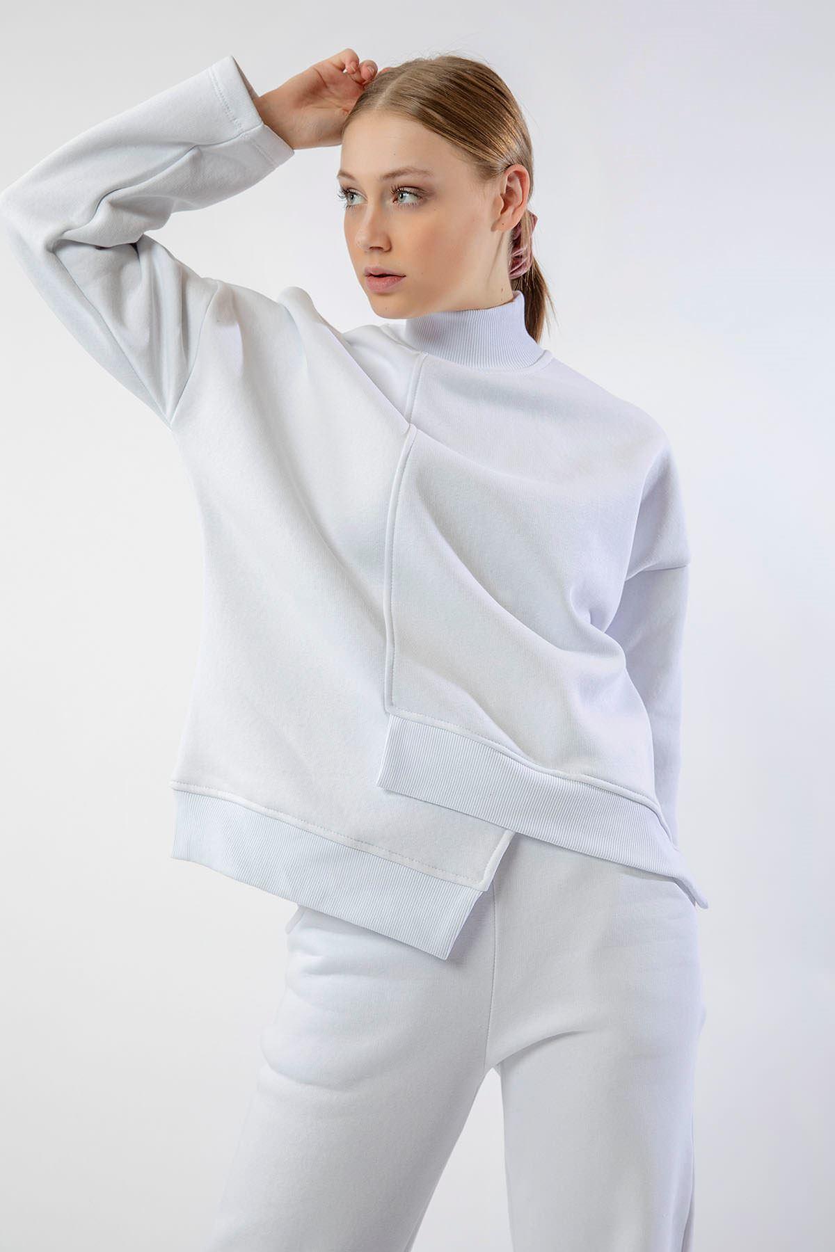 Asimetrik Detay Eşofman Takım-Beyaz