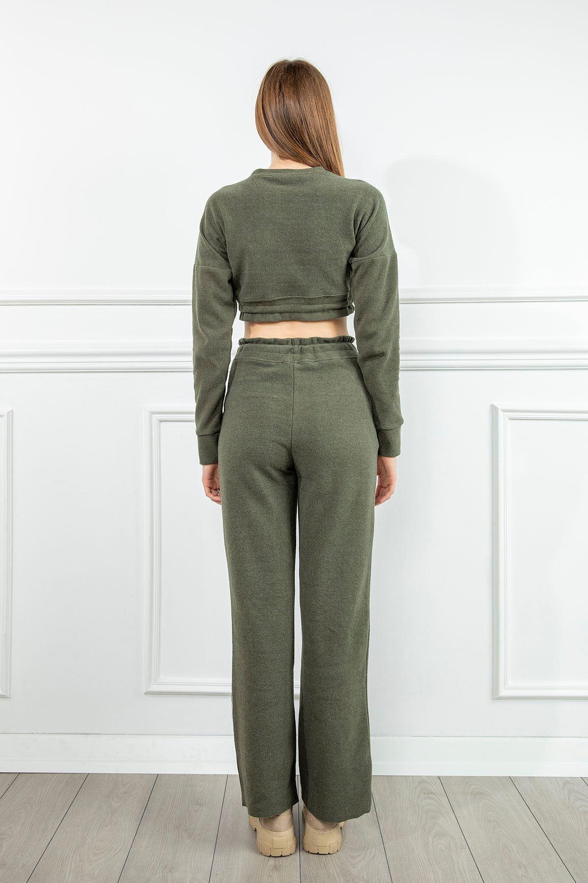Beli Lastlikli Pantolon Takım-Haki