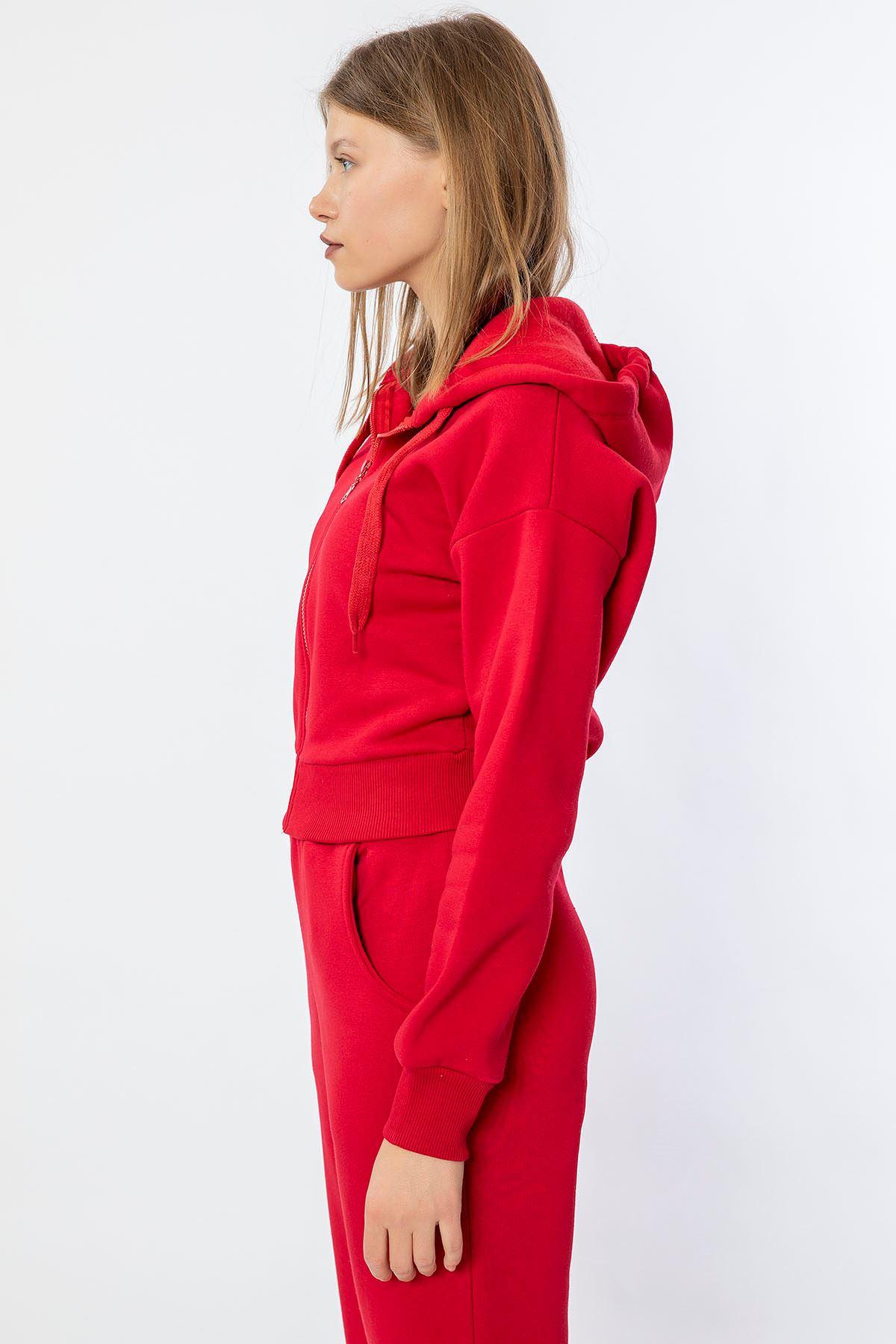 Fermuarlı Sweatshirt Takım-Kırmızı