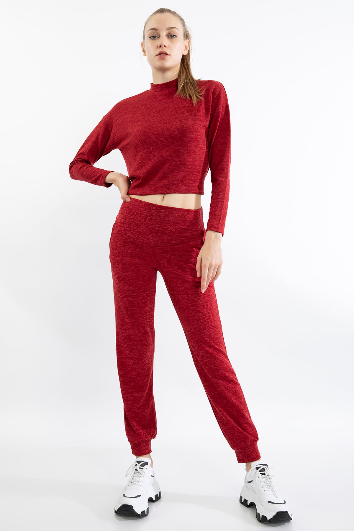 Bağlama Detay Eşofman Takım-Kırmızı