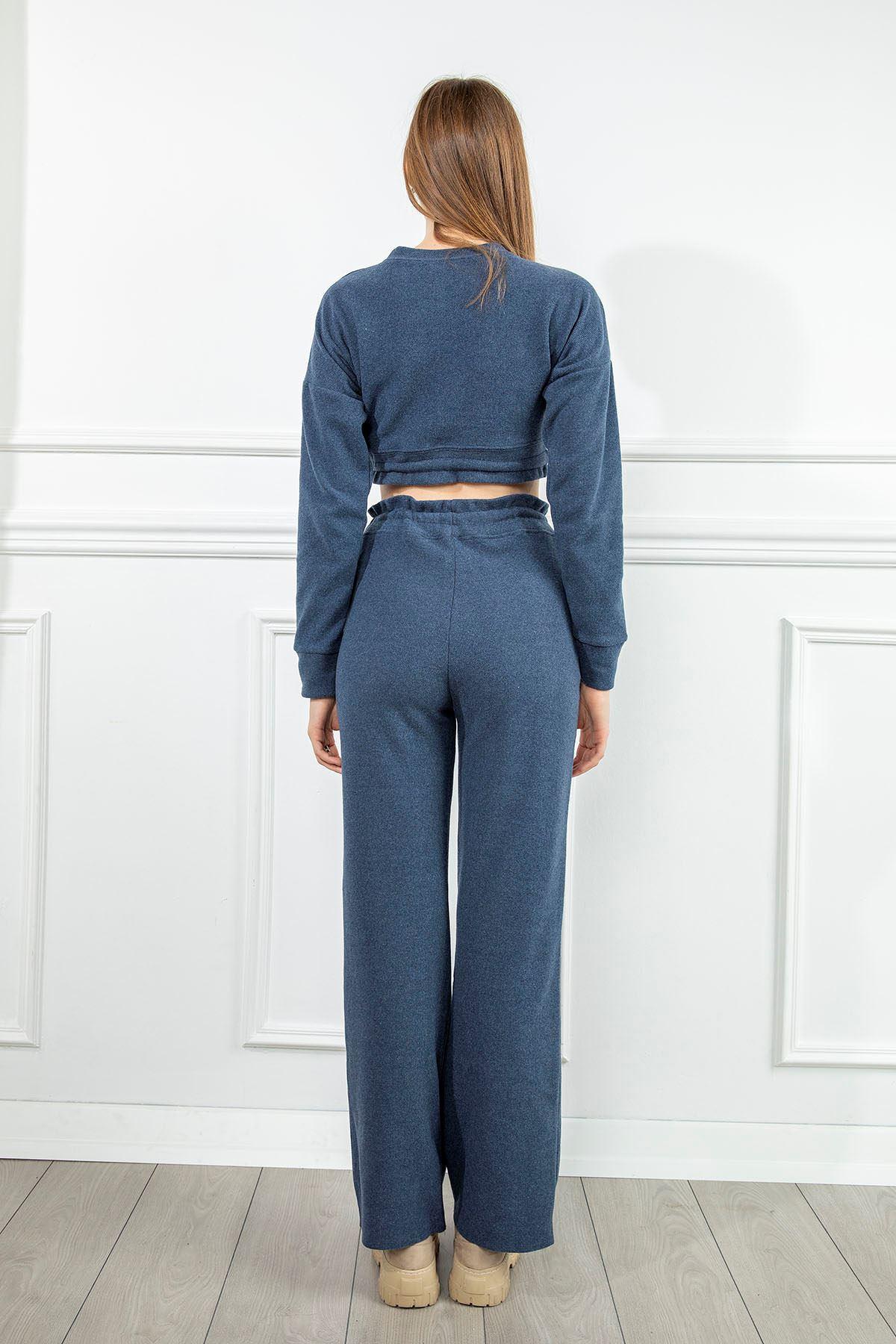 Beli Lastlikli Pantolon Takım-İndigo