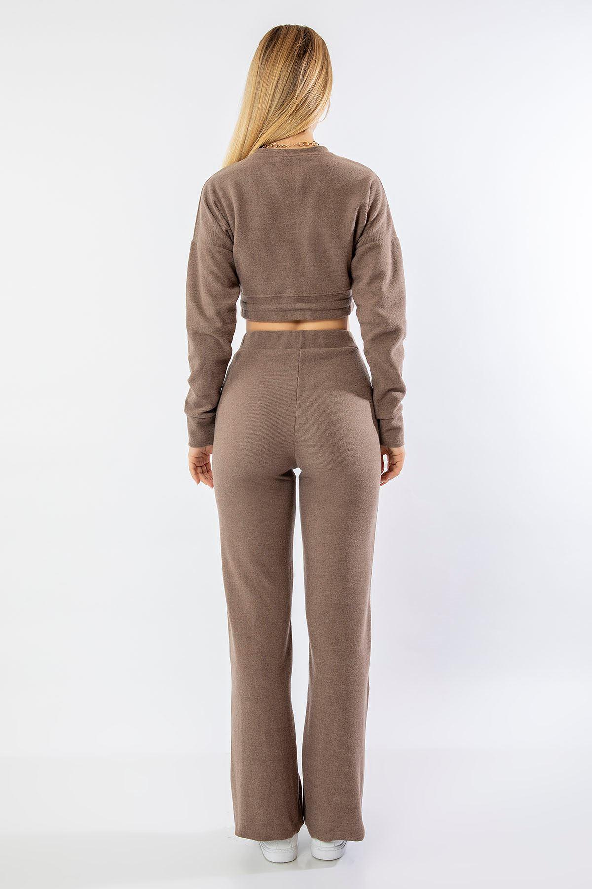 Bol Paça Pantolon Takım-Vizon